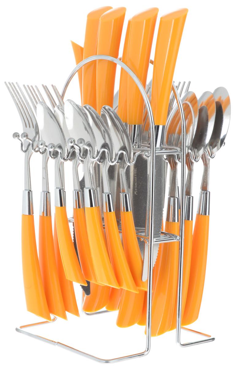 """Набор столовых приборов """"Mayer & Boch"""", цвет: стальной, оранжевый, 25 предметов"""