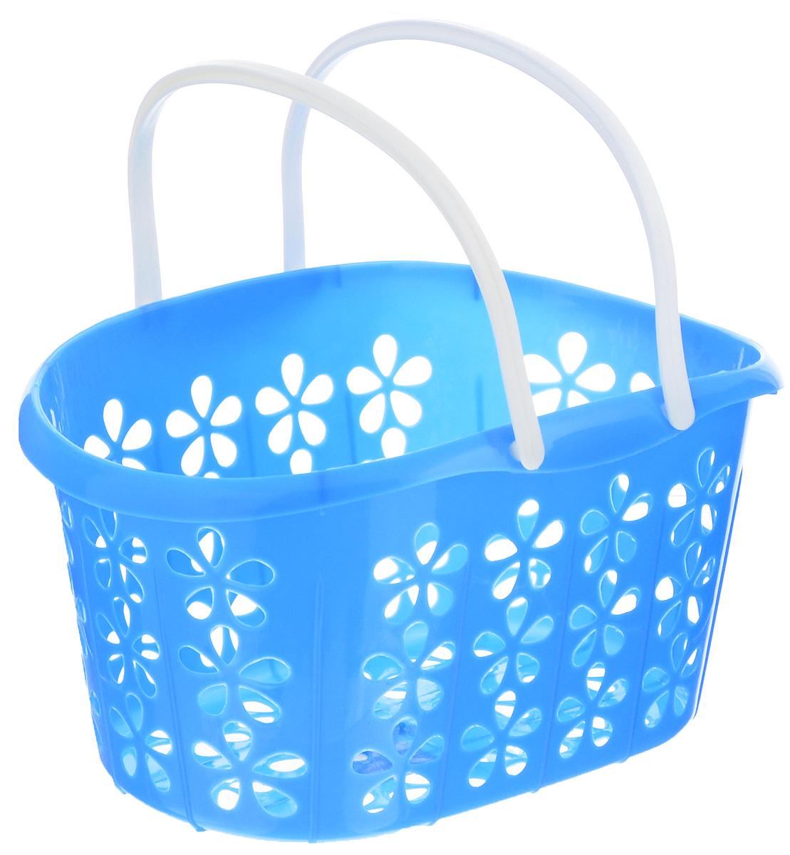 Корзинка Sima-land, с ручками, цвет: голубой, белый, 22,5 х 16,5 х 12 см139077_голубой, белыйКорзинка Sima-land, изготовленная из высококачественного прочного пластика, предназначена для хранения мелочей в ванной, на кухне, даче или гараже. Изделие оснащено двумя удобными складными ручками. Это легкая корзина с оригинальной перфорацией, жесткой кромкой и небольшими отверстиями позволяет хранить вещи в одном месте, исключая возможность их потери.
