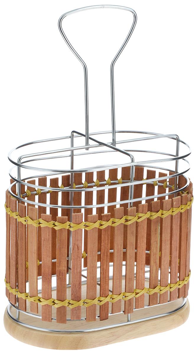 Подставка для столовых приборов Mayer & Boch, 15,8 х 10 х 25,5 см8633Подставка для столовых приборов Mayer & Boch изготовлена из металла с деревянной плетеной отделкой. Изделие имеет 4 секции для хранения различных столовых приборов. Дно подставки деревянное, с текстильными накладками для устойчивого положения. Для удобной переноски подставка снабжена ручкой. Оригинальная и стильная подставка для столовых приборов отлично дополнит интерьер кухни и поможет аккуратно хранить ваши столовые приборы.