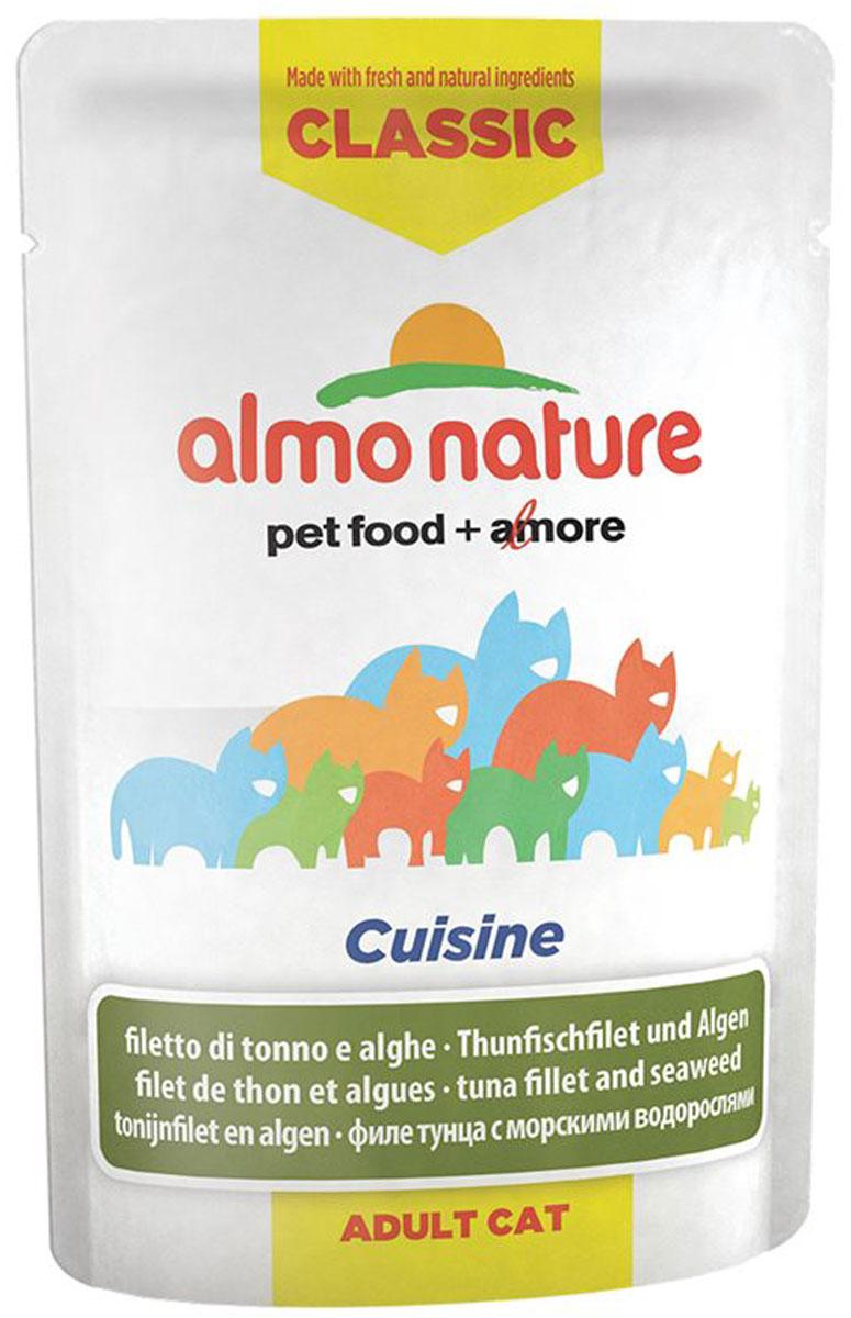 Консервы для взрослых кошек Almo Nature Classic Cuisine, с филе тунца и морскими водорослями, 55 г23201_newКонсервы Almo Nature Classic Cuisine - это прекрасный сбалансированный корм для кошек. Угощение бережно приготовлено из самых свежих ингредиентов. Корм обогащен витаминами и минералами для здоровья, а также для хорошего самочувствия. Ваш питомец будет в полном восторге! Не содержит сои, консервантов, ароматизаторов, искусственных красителей, усилителей вкуса. Состав: филе тунца 59%, бульон из тунца, рис, морские водоросли 0,3%. Добавки: витамин А 1325 ед/кг, витамин Е 15 мг/кг, таурин 160 мг/кг. Пищевая ценность: белок 16%, клетчатка 0,1%, масла и жиры 0,3%, зола 1%, влажность 82%. Энергетическая ценность: 580 ккал/кг. Товар сертифицирован.