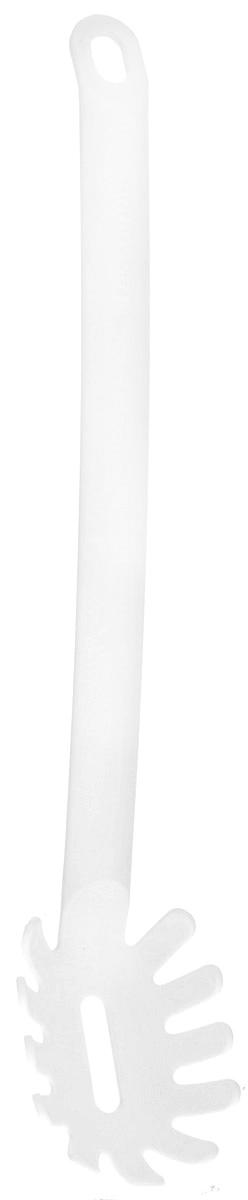Ложка для спагетти Tescoma Space Bianco, длина 32 см638068Ложка для спагетти Tescoma Space Bianco изготовлена из высококачественного термостойкого нейлона и безопасна для всех видов посуды, особенно с антипригарным покрытием. Эргономичная рукоятка обеспечивает надежный хват, а небольшое отверстие позволить подвесить изделие в удобном для вас месте. С такой ложкой для спагетти вы сможете аккуратно и без проблем накладывать пасту порционно в каждую тарелку - при этом длинные спагетти не ломаются и сохраняют прекрасный вид. Можно мыть в посудомоечной машине. Длина ложки: 32 см. Размер рабочей поверхности: 8,5 х 6 х 2,5 см.