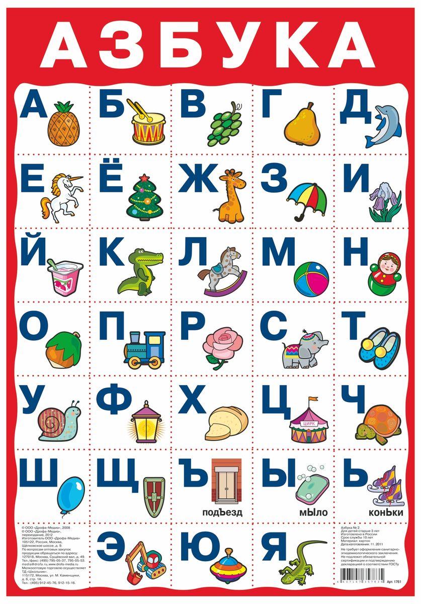 Дрофа-Медиа Обучающий плакат Азбука 21761Обучающий плакат Дрофа-Медиа с буквами русского алфавита поможет вам сделать первые шаги в деле обучения ребенка русскому языку. Повесьте плакат там, где он будет постоянно находиться в поле зрения малыша, - в игровой зоне или над кроваткой. Называйте ребенку буквы и называйте предметы на картинке - так процесс обучения будет проходить в легкой игровой форме.
