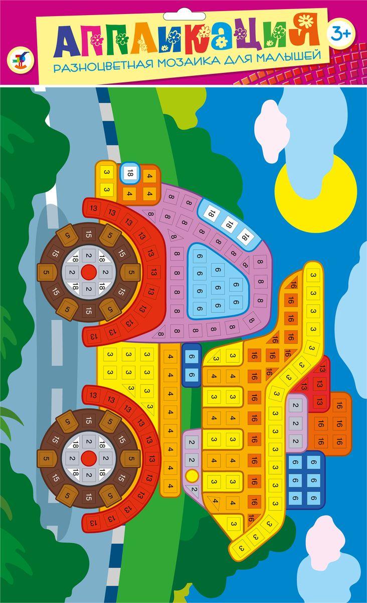 Дрофа-Медиа Аппликация Разноцветная мозаика для малышей Грузовик2677Мозаика из больших квадратиков (1смх1см), изготовленных из мягкого пластика ЭВА, на который с одной стороны наклеяна цветная пленка, а с другой - самоклеящаяся. В набор входят: картинка-основа для аппликации, квадратики из мягкого пластика на самоклеящейся основе 8 цветов, декоративные элементы (стразы, глазки и др.)