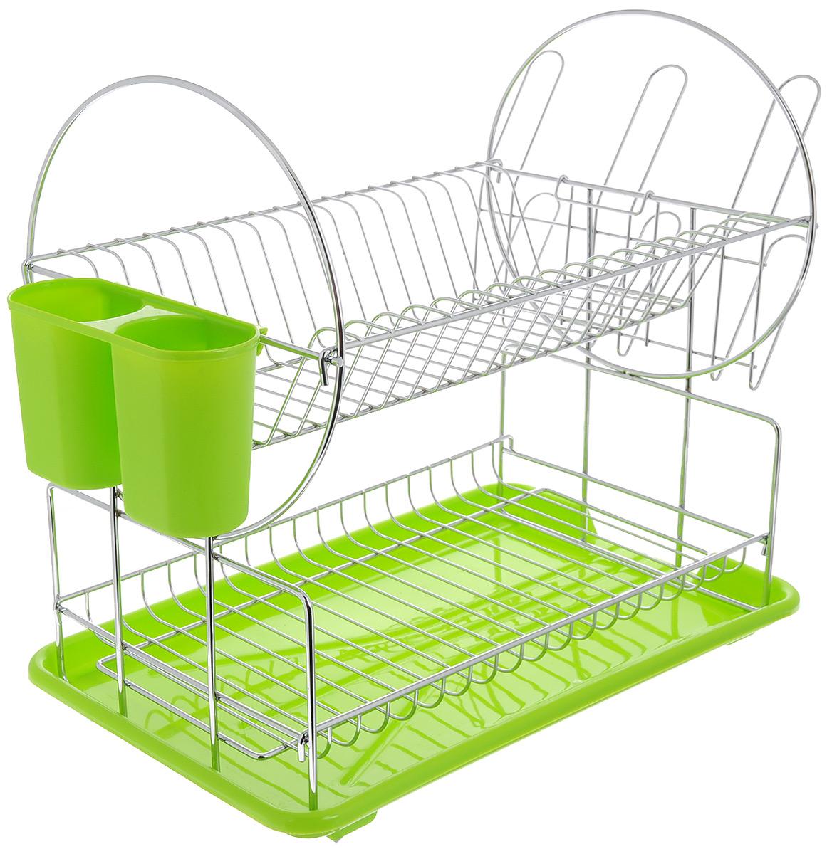 Сушилка для посуды Mayer & Boch, цвет: зеленый, серебристый, 42 х 22 х 35 см23217Сушилка для посуды Mayer & Boch изготовлена из высококачественных гигиеничных материалов. Корпус выполнен из хромированного металла, поддон и подставка для столовых приборов - из полипропилена. Сушилка двухъярусная, что позволяет хранить больше посуды. Внизу можно поместить кружки и пиалы, а вверху - тарелки и столовые приборы. Сбоку предусмотрены специальные держатели для стаканов. Прямоугольный поддон для воды поможет вам сохранить кухню в чистоте. Элегантный дизайн позволит сушилке Mayer & Boch стать прекрасным дополнением интерьера кухни.