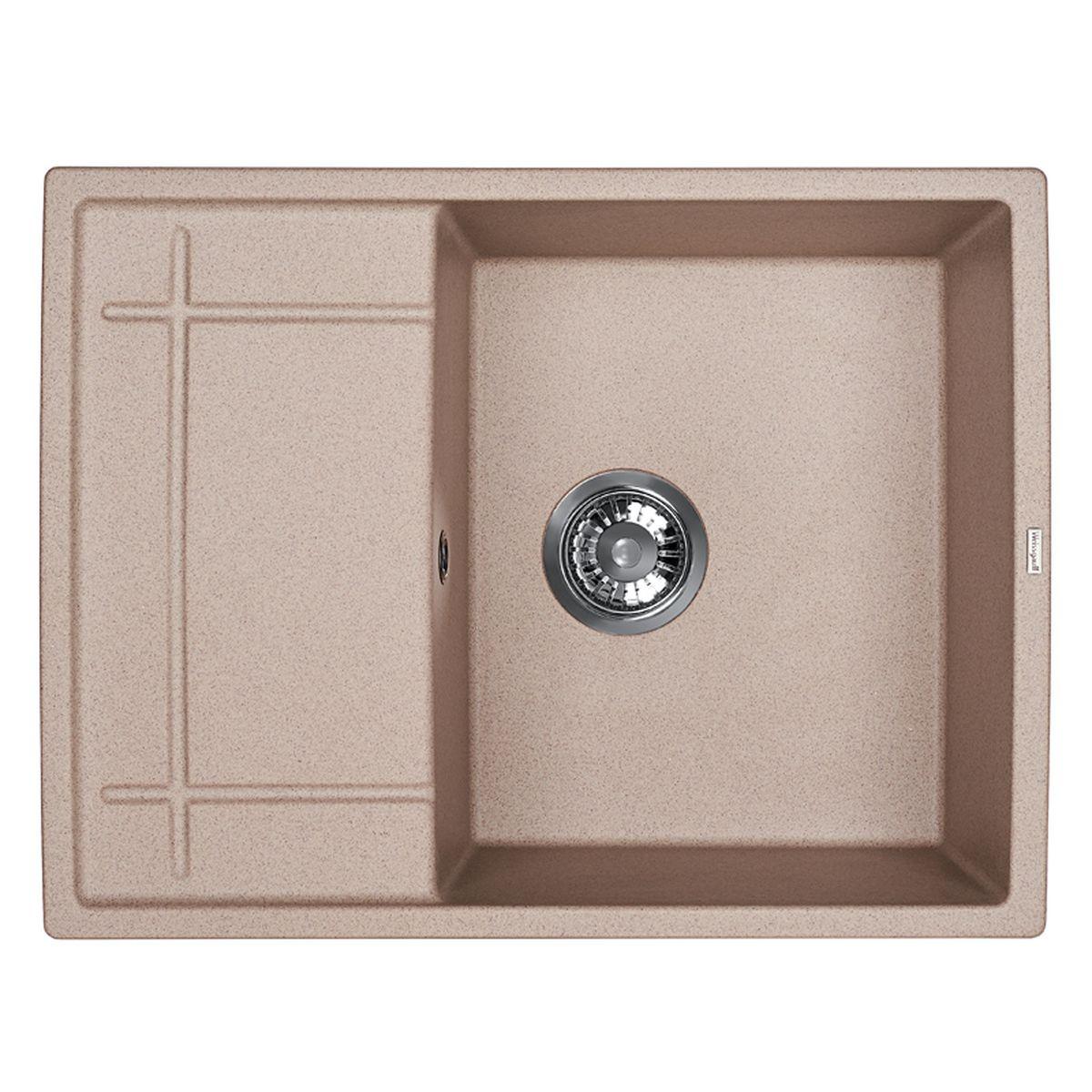 Мойка Weissgauff Quadro 650 Eco Granit, цвет: серый беж, 65,0 х 19,0 х 50,0 см306338Гранитные мойки Weissgauff Eco Granit – классическая коллекция моек, изготовленных из специально подобранных композитных материалов , содержащих оптимальное сочетание 80% каменной массы высокого качества и 20% связующих материалов. Оригинальный и функциональный дизайн - технология изготовления позволяет создавать любые цвета и формы, оптимальные для современных кухонь. Мойки Weissgauff легко подобрать к интерьеру любой кухни, для разных цветов и форм столешниц Влагостойкость - отталкивание влаги – одна из примечательных особенностей моек из искусственного камня за счет связующих композитных материалов, которые продлевают их срок службы и способствуют сохранению первоначального вида Термостойкость - подвергая мойки воздействию высоких температур, например, различными горячими жидкостями, будьте уверенны, что мойки Weissgauff – эталон стойкости и качества, так как они устойчивы к перепаду температур. Специальный состав моек Weisgauff избавляет от проблемы...
