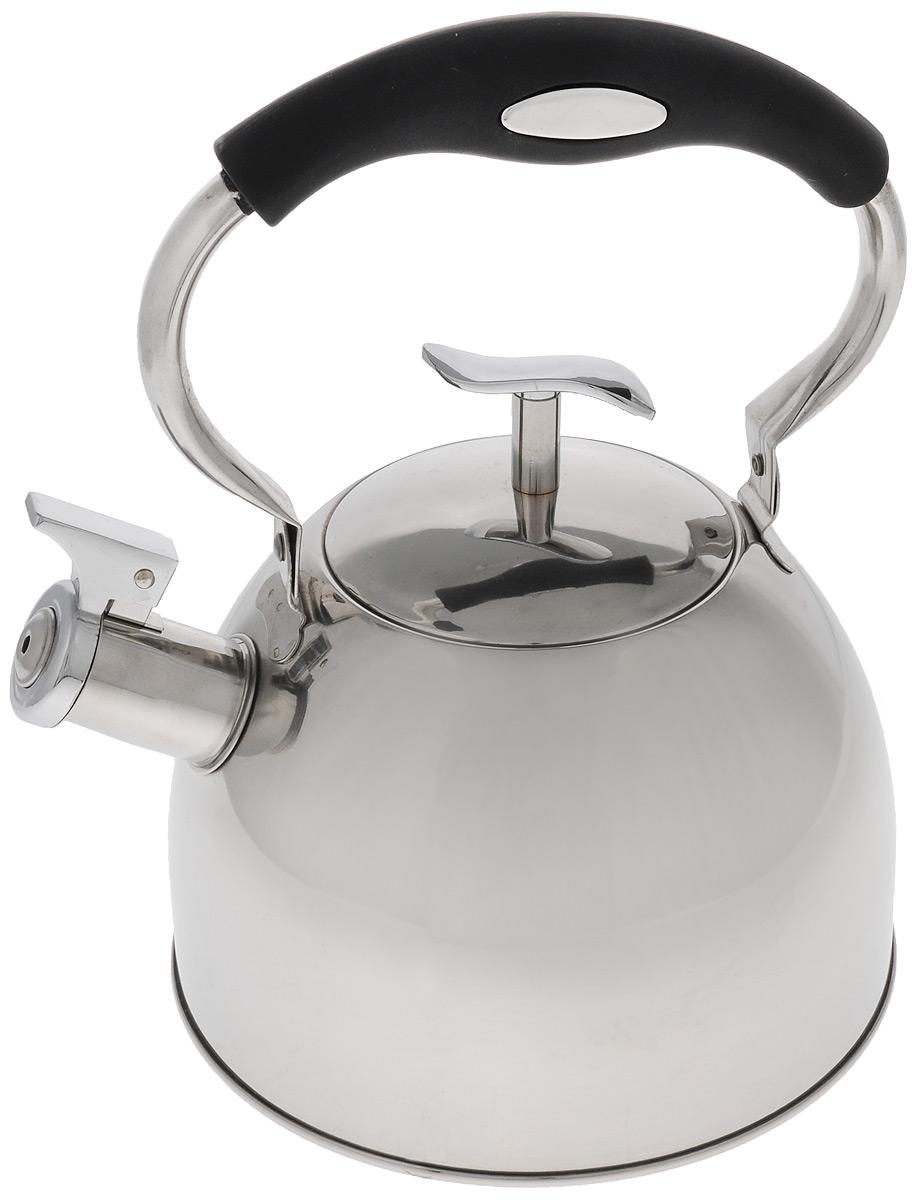 Чайник Mayer & Boch, со свистком, цвет: серебристый, черный, 3 л. 41274127_черная ручкаЧайник Mayer & Boch выполнен из высококачественной нержавеющей стали с зеркальной полировкой, что делает его гигиеничным и устойчивым к износу при длительном использовании. Нержавеющая сталь не окисляется и не впитывает запахи, напитки всегда ароматные и имеют настоящий вкус. Капсулированное дно с прослойкой из алюминия обеспечивает наилучшее распределение тепла. Носик чайника оснащен насадкой-свистком, что позволит вам контролировать процесс подогрева или кипячения воды. Подвижная ручка изготовлена из нейлона с силиконовым покрытием. Поверхность чайника гладкая, что облегчает уход. Эстетичный и функциональный, с эксклюзивным дизайном, такой чайник будет оригинально смотреться в любом интерьере. Подходит для электрических, газовых, стеклокерамических и галогеновых плит. Не подходит для индукционных плит. Можно мыть в посудомоечной машине. Высота чайника (без учета ручки и крышки): 13 см. Высота чайника (с учетом ручки и крышки): 26 см. ...