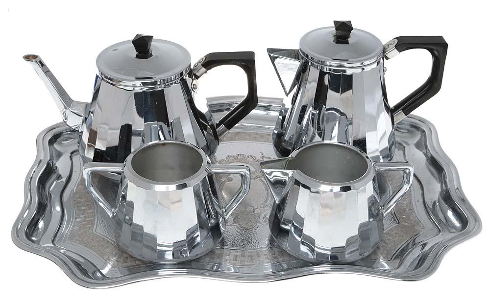 Чайно-кофейный набор из 5-ти предметов. Металл, хромирование, гравировка. Swan Brand, Великобритания, 1960-е гг.