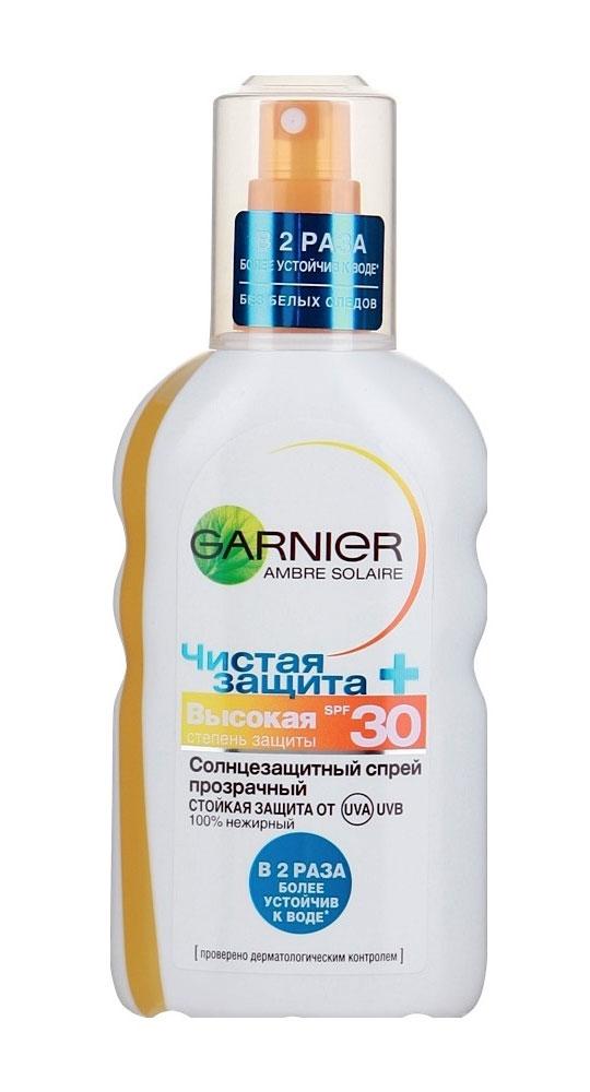 Garnier Солнцезащитный спрей для тела Ambre Solaire, Чистая защита, прозрачный, водостойкий, мгновенно впитывается, для светлой, уже загорелой кожи, SPF 30, 200 млC2572716Чистая защита - прозрачный солнцезащитный спрей. В 2 раза более устойчив к воде. Стойкая защита от UVA/UVB . Нежирный