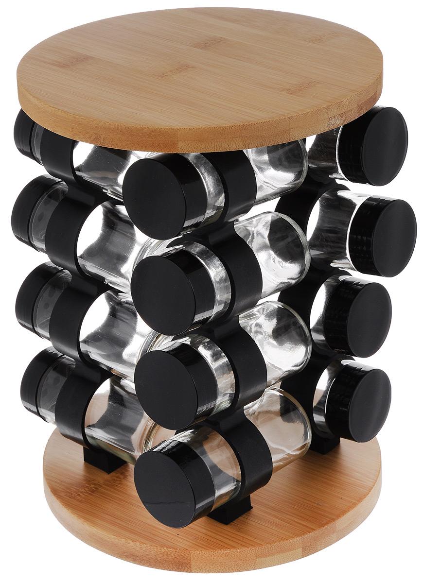 Набор для специй Mayer & Boch, на подставке, 17 предметов23293Набор для специй Mayer & Boch включает 16 баночек для специй, расположенных на бамбуковой подставке, благодаря чему емкости не потеряются и всегда будут у вас под рукой. Емкости выполнены из высококачественного стекла и снабжены пластиковыми крышками. Герметичное закрытие обеспечивает самое лучшее хранение. Баночки можно наполнять любыми используемыми вами специями. Специальная вращающаяся подставка делает хранение баночек очень удобным. Модный, элегантный и яркий дизайн набора украсит интерьер вашей кухни. Наслаждайтесь приготовлением пищи с вашим набором баночек для специй. В комплект входит набор наклеек для баночек с названиями специй. Объем баночки: 85 мл. Размер баночки: 4,2 х 4,2 х 9,5 см. Размер подставки: 19 х 19 х 26,5 см.
