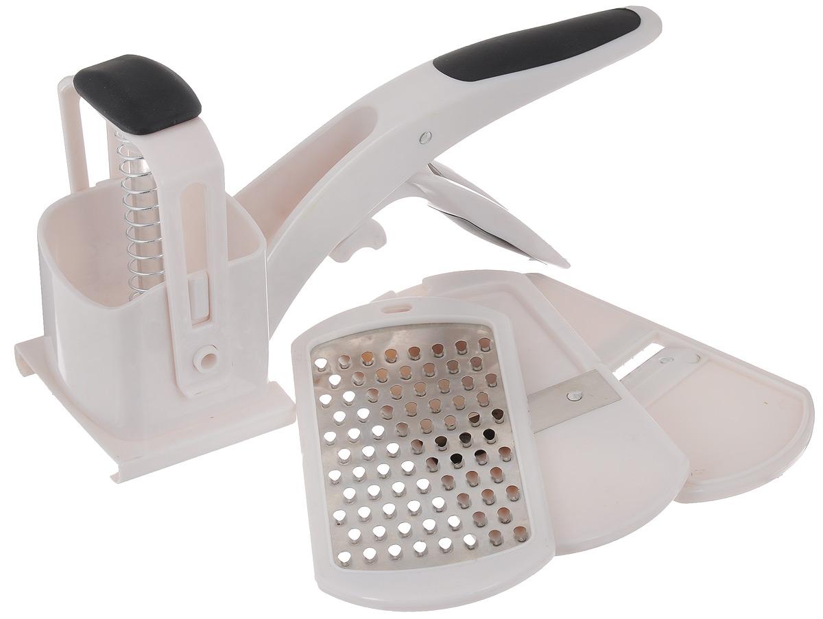 Терка пружинная Mayer & Boch, 3 насадки20529Пружинная терка Mayer & Boch выполнена из высококачественного пластика и придется по вкусу каждой хозяйке. Ручки изделия имеют резиновые вставки, что обеспечивает более надежный хват и предотвращает скольжение в руках. К терке прилагаются три насадки с металлическими лезвиями. С помощью пружинного механизма способ нарезания продуктов станет легким, быстрым и главное - безопасным, этой теркой можно пользоваться даже детям. Размер терки: 23 х 8 х 13 см. Размер насадки: 15 х 7,5 х 0,7 см.