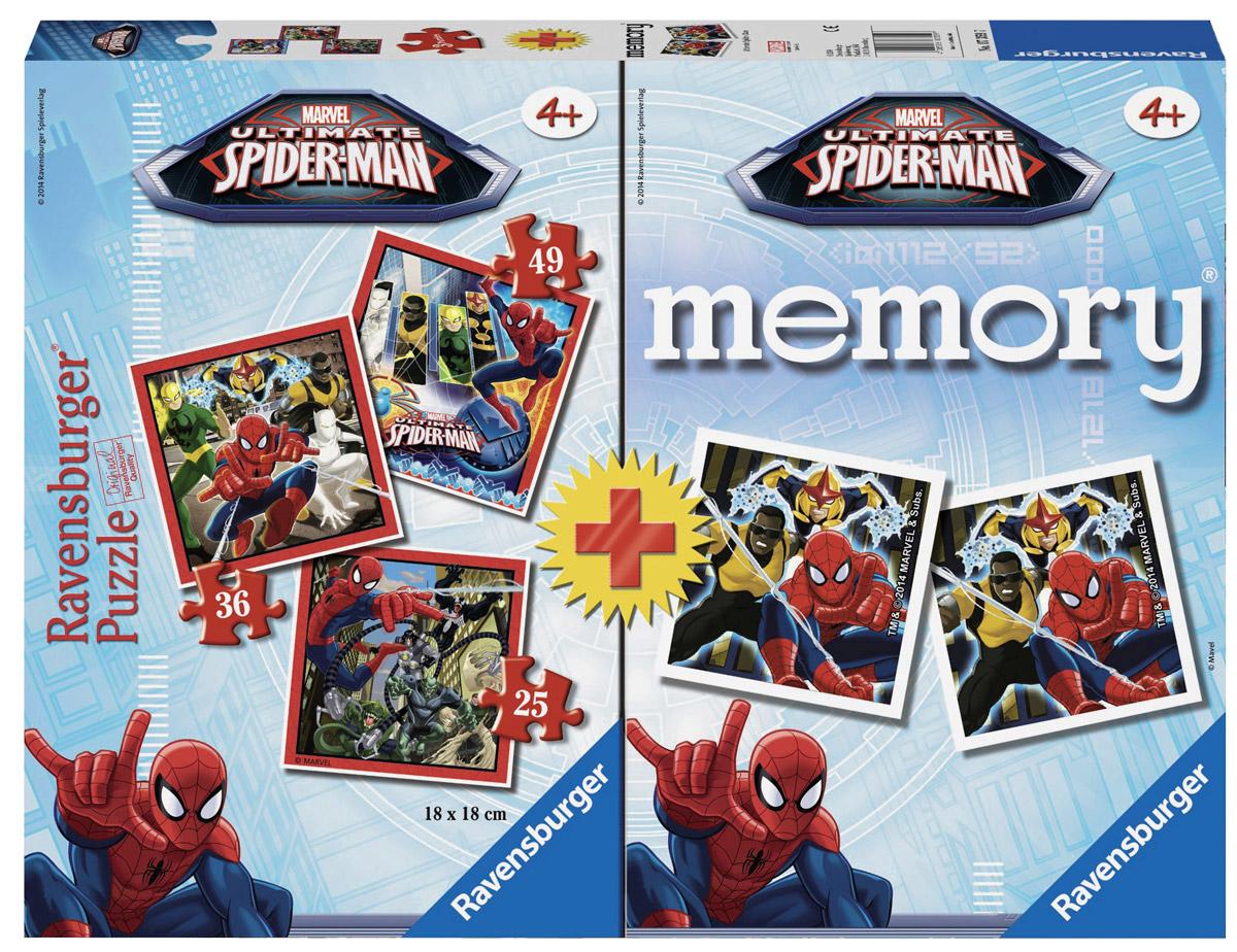 Ravensburger Пазл для малышей Человек-паук 3 в 1 + 48 карточек мемори7359Пазл Ravensburger Человек-паук, без сомнения, придется по душе вашему ребенку. Набор включает в себя 3 пазла. Первый пазл состоит из 49 элементов, второй - из 36 элементов, третий - из 25 элементов. Собрав все элементы, вы получите 3 замечательные картинки с изображением главного героя комиксов Марвел - Человека-паука. Пазл изготовлен из картона высочайшего качества. Каждая деталь имеет свою форму и подходит только на свое место. Все изображения аккуратно отсканированы и напечатаны на ламинированной бумаге. Пазлы - замечательная развивающая игра для детей. Собирание пазла развивает у ребенка мелкую моторику рук, тренирует наблюдательность, логическое мышление, знакомит с окружающим миром, с цветом и разнообразными формами, учит усидчивости, терпению и аккуратности. Карточки Memory прекрасно развивают память и внимание. В наборе 48 карточек (всего 24 пары). Найдите 2 одинаковые карточки. Поиск карточек надолго займет ребенка и доставит море радости.