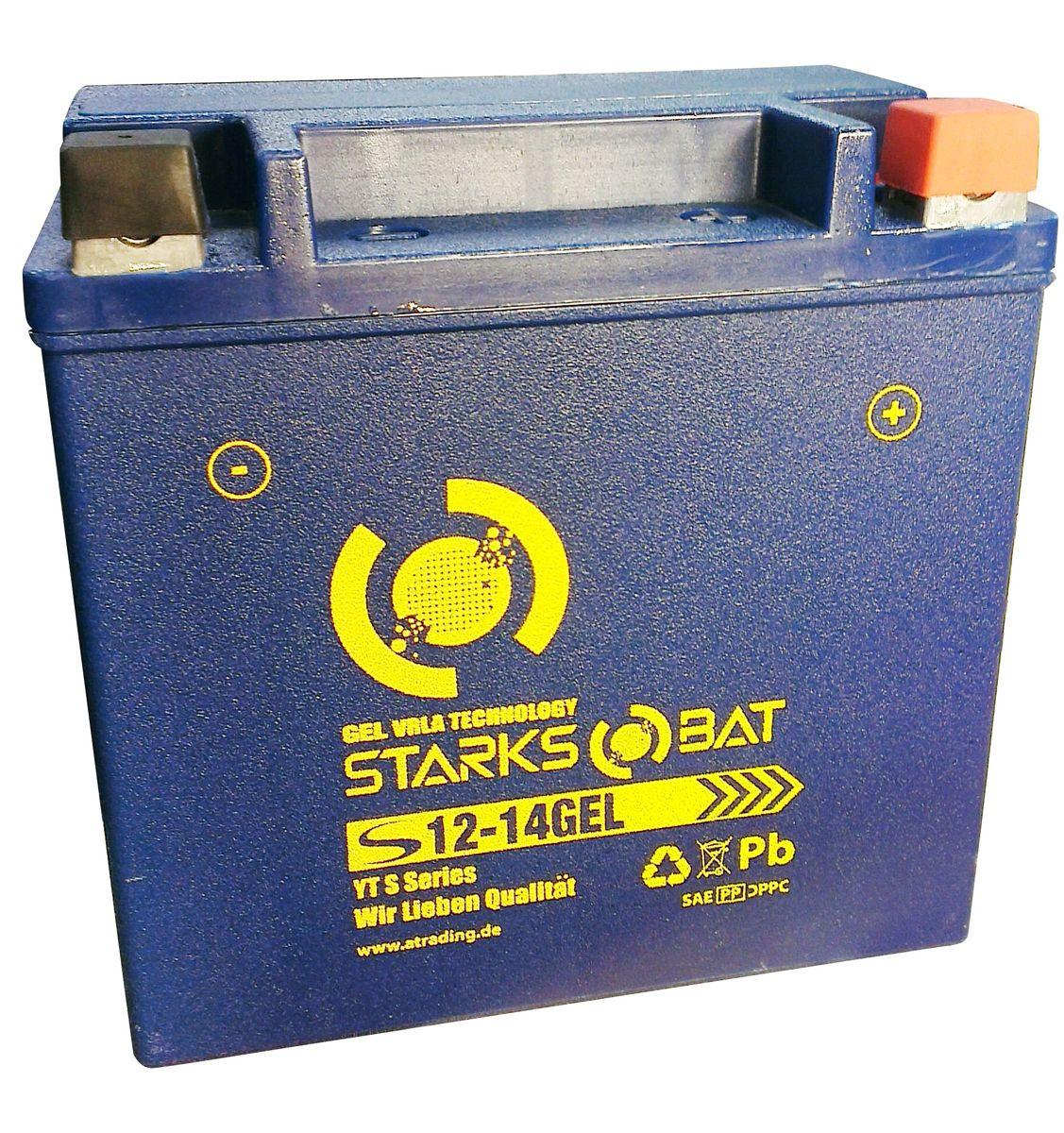 Батарея аккумуляторная для мотоциклов Starksbat. YT S 12-14 GEL (YTX14L-BS)YT S 12-14YT S 12-14 GEL (YTX14L-BS) Аккумуляторы для мотоциклов STARKSBAT производятся немецким концерном Active Trading GmbH. Аккумуляторы STARKSBAT изготовлены по технологии AGM, обеспечивающей повышенный уровень безопасности батареи и удобство ее эксплуатации. Корпус АКБ STARKSBAT выполнен из особо ударопрочного и морозостойкого полипропилена. Аккумуляторы STARKSBAT длительное время успешно продаются в США и Канаде, где блестяще доказали свои высокие эксплуатационные свойства в самых экстремальных условиях бездорожья, высоких и низких температур. Аккумуляторные батареи STARKSBAT производятся под знаменитым Немецким контролем качества, что обеспечивает им высокие пусковые характеристики и восстановление емкости даже после глубокого разряда. YT S 12-14GEL Technology (YTX14L-BS) Параметры аккумулятора: Напряжение (В): 12 Емкость (А/Ч): 14 Размеры (мм): 150x87x145 Полярность: Обратная (- +) Ток холодной прокрутки: 220 Аh (EN) Корпус АКБ STARKSBAT выполнен из особо ударопрочного и...