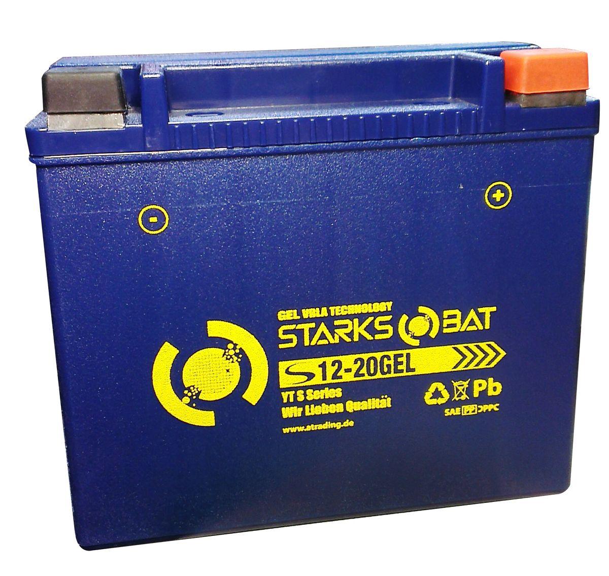 Батарея аккумуляторная для мотоциклов Starksbat. YT S 12-20 GEL (YTX20L-BS)YT S 12-20YT S 12-20 GEL (YTX20L-BS, YTX20HL-BS, YB16CL-B, YB16L-B, YB18L-A) Аккумуляторы для мотоциклов STARKSBAT производятся немецким концерном Active Trading GmbH. Аккумуляторы STARKSBAT изготовлены по технологии AGM, обеспечивающей повышенный уровень безопасности батареи и удобство ее эксплуатации. Корпус АКБ STARKSBAT выполнен из особо ударопрочного и морозостойкого полипропилена. Аккумуляторы STARKSBAT длительное время успешно продаются в США и Канаде, где блестяще доказали свои высокие эксплуатационные свойства в самых экстремальных условиях бездорожья, высоких и низких температур. Аккумуляторные батареи STARKSBAT производятся под знаменитым Немецким контролем качества, что обеспечивает им высокие пусковые характеристики и восстановление емкости даже после глубокого разряда. YT S 12-20 GEL Technology (YTX20L-BS, YTX20HL-BS, YB16CL-B, YB16L-B, YB18L-A) Параметры аккумулятора: Напряжение (В): 12 Емкость (А/Ч): 18 Размеры (мм): 175х87х155 Полярность: Обратная (- +) Ток холодной...