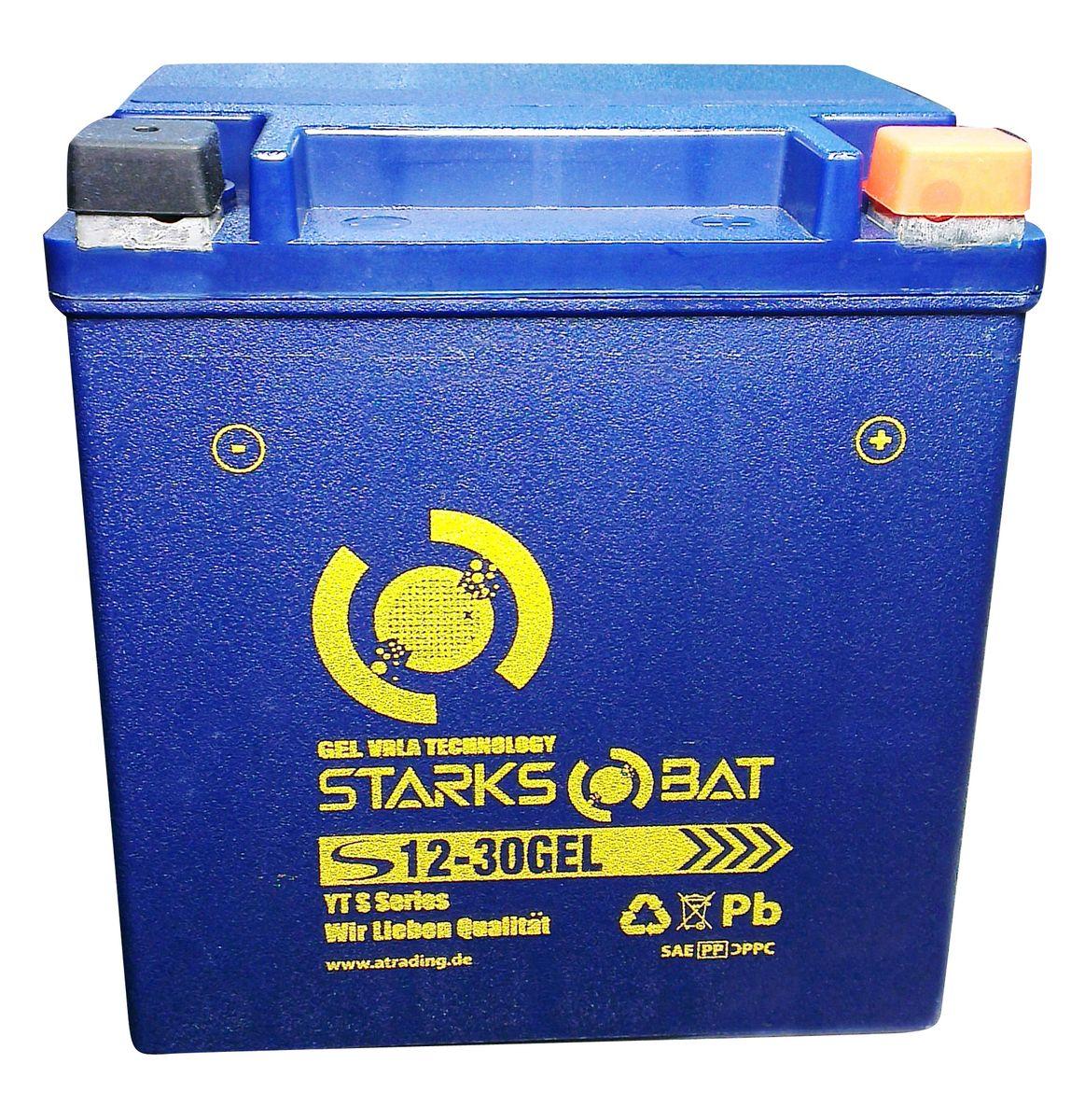 """Батарея аккумуляторная для мотоциклов """"Starksbat"""". YT S 12-30 GEL (YB30L-B)"""