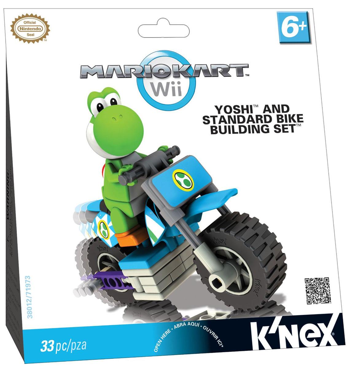 Knex Конструктор Мотоцикл Йоши38002/T71696_лягушкаКонструктор Knex Мотоцикл Йоши понравится всем поклонникам видеоигры от компании Nintendo. Все элементы выполнены из прочного и безопасного материала. В комплект входят 33 элемента конструктора, включая фигурку любимого героя. С помощью элементов конструктора ребенок сможет собрать мотоцикл Йоши. Йоши - дружелюбный динозаврик, являющийся одним из наиболее популярных героев серии видеоигр компании Nintendo про Марио и проживающий на острове Йоши. Ваш ребенок будет часами играть с этим конструктором и фигуркой, придумывая различные истории.