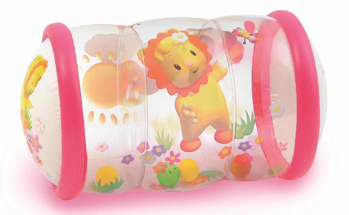 Smoby Надувной цилиндр с шариками цвет розовый211318Игрушка-тренажер Smoby Надувной цилиндр с шариками непременно понравится вашему малышу. Цилиндр легкий и упругий, это идеальная развивающая игрушка, на которой можно покататься и попрыгать. При помощи упругого надувного цилиндра ребенок сможет приподниматься и переворачиваться, сидеть на нем или катать его по поверхности. Внутри цилиндра находятся четыре шарика, один из которых дополнен бубенчиками, которые весело звенят при перекатывании. Цилиндр оформлен красочными изображениями веселых мультипликационных героев. Игры с такой игрушкой способствуют физическому и умственному развитию ребенка, а также помогут познакомиться с новыми цветами и формами.
