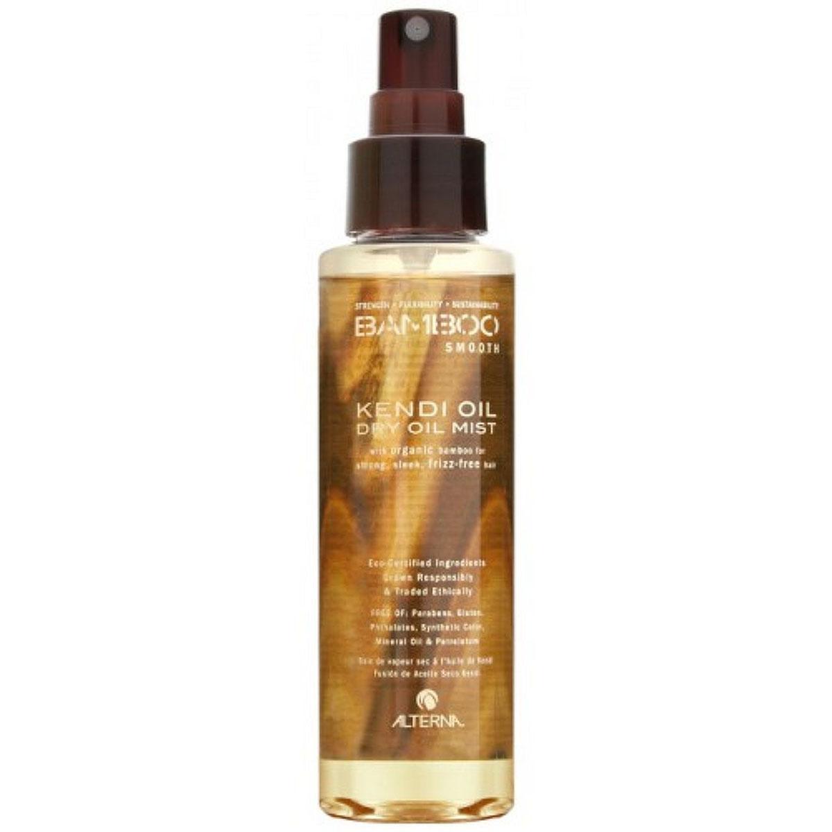 Alterna Невесомое масло-спрей для ухода за волосами Bamboo Smooth Kendi Dry Oil Mist - 125 мл44310Масло Кенди, входящее в состав Alterna Bamboo Smooth Kendi Dry Oil Mist, помогает разгладить волосы и устранить их пушистость. Обладает термозащитой, так же используется для продления срока действия процедуры выпрямления волос. Результат: Alterna Bamboo Smooth Kendi Dry Oil Mist насыщает волосы питательными веществами и антиоксидантами. Укрепляет волосы. Благодаря технологии Color Hold обеспечивает защиту цвета волос. Предотвращает запутывание, пушистость и завивание волос. Увеличивает срок действия процесса по выпрямлению и выравниванию волос. Обладает влагостойкими свойствами. Усиливает блеск волос.