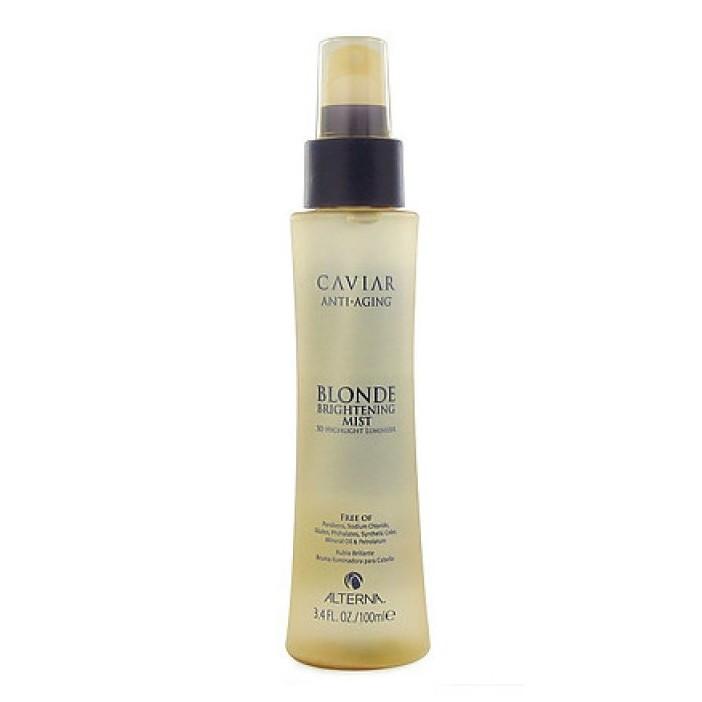 Alterna Спрей-вуаль Мерцание для светлых волос Caviar Anti-aging Blonde Brightening Mist — 100 мл60188Спрей-вуаль Мерцание для светлых волос (Caviar Anti-aging Blonde Brightening Mist) идеально подойдёт для создания красивой укладки. Средство хорошо тем, что при его использовании внешний вид обретает завершённости, а волосы получают массу полезных элементов, тем самым увлажняясь и питаясь. Благодаря входящему в состав спрея экстракту ромашки волосы получают огромное количество витаминов и. Также после использования заметно улучшение цвета волос. На это влияет экстракт мёда, входящий в состав. Преимуществом средства есть то, что оно подходит как для окрашенных, светлых волос, так и для натуральных. К примеру, окрашенные волосы обретают более насыщенного и натурального цвета, питаясь и увлажняясь. А натуральный цвет становится ещё более благородным и красивым. Не только здоровые волосы выглядят хорошо, а в этом и заключается действие средства.