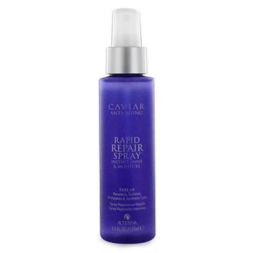 Alterna Спрей-блеск мгновенного действия Caviar Anti-Aging Rapid Repair Spray - 125 мл61008Спрей-блеск Alterna Caviar Anti-Aging Rapid Repair Spray придает волосам прочность, эластичность и сияние в течение всего дня. Средство содержит комплекс Морской Шелк - источник жирных кислот, которые так важны для здоровья и красоты волосяного стержня. Также в состав продукта входят витамины Е, А и Д3, которые не вырабатываются организмом самостоятельно и поэтому их необходимо поставлять извне. Важной составляющей являются натуральные масла, которые заботятся о волосах и коже головы, стимулируют кровообращение и снимают раздражения. Результат: Помогает восстановить ослабленные волосы, питает и насыщает их витаминами, придает здоровый блеск и шелковистость. Спрей увлажняет волосы и предотвращает их преждевременное старение, одновременно защищая волосы от вредного ультрафиолетового излучения и агрессивного влияния окружающей среды.