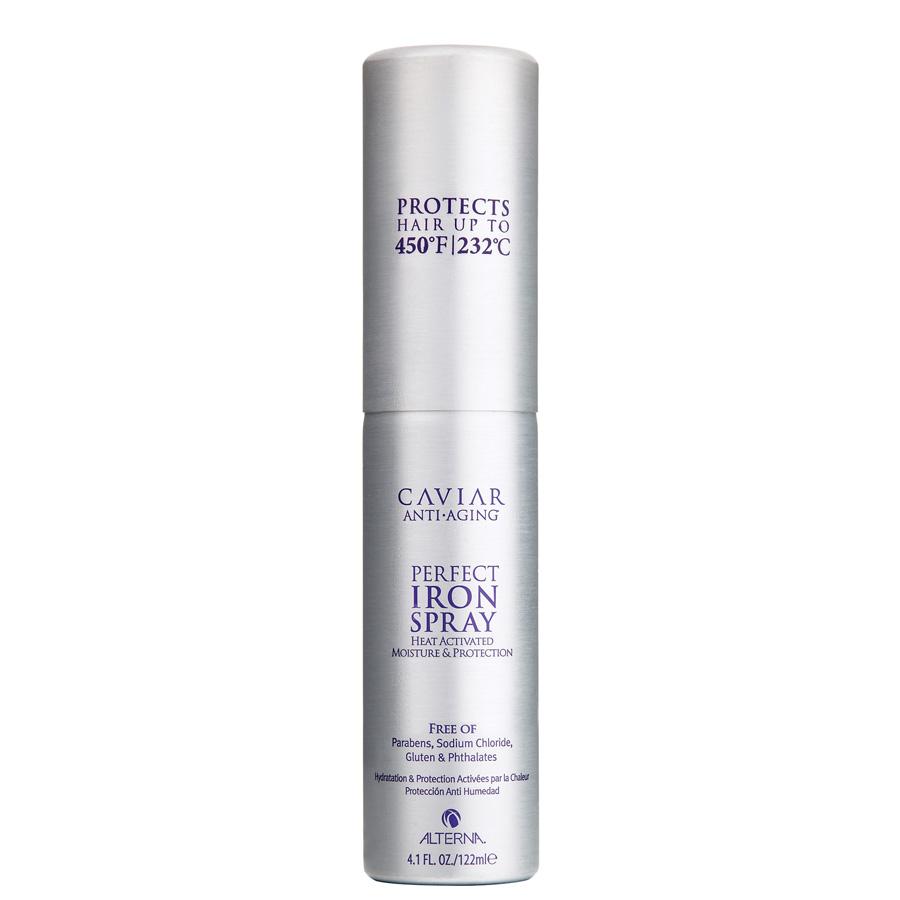 Alterna Спрей Абсолютная термозащита Caviar Anti-Aging Perfect Iron Spray — 122 мл67550Спрей Абсолютная термозащита (Caviar Anti-Aging Perfect Iron Spray) обладает особыми данными, которые способствуют улучшению не только структуры волос, а ещё и липидному слою кожи. Во время использования этого средства кожа головы и сами волосы получают массу полезных, витаминных комплексов, которые благотворно влияют на дальнейший рост волос. Преимуществом спрея есть то, что он, питая кожу головы, делает волосы менее чувствительными к внешним раздражителям. В состав входит натуральный экстракт чёрной икры. Он является редким, но высококачественным элементом любого средства для волос. Его суть работы заключается в том, чтобы восстановить повреждённые волосы (секущиеся концы, жирную текстуру или ломкость) тем самым не навредив коже головы. Помимо этого компонентом средства ещё есть пантенол и фосфолипиды. Пантенол укрепляет и защищает волосы от внешних факторов, а фосфолипиды играют роль питания.