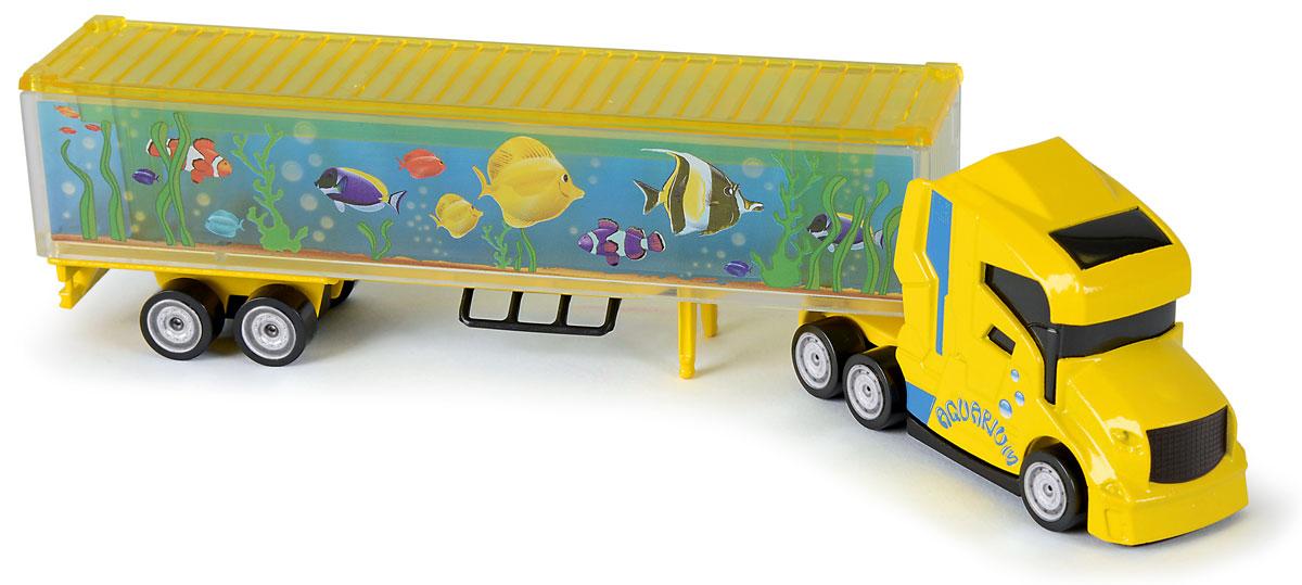 Majorette Грузовик Aquarium205330_желтыйГрузовик с прицепом Majorette Aquarium привлечет внимание вашего ребенка и не позволит ему скучать. Игрушка представляет собой мощный грузовик с большим прицепом-аквариумом для перевозки экзотических рыб. Двери прицепа открываются. Ваш маленький непоседа с удовольствием будет играть с такой машиной, придумывая различные истории. Порадуйте его таким замечательным подарком!