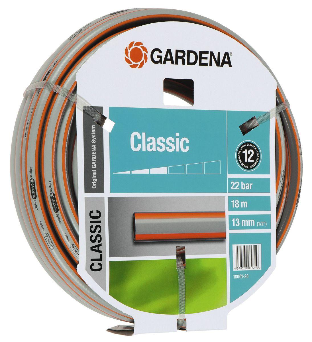 Шланг Classic 1/2 х 18 м Gardena18001-20.000.00Садовый шланг с высококачественным армированием. Хорошо сохраняет первоначальную форму, выдерживает высокое давление. Отсутствие фталатов и тяжелых металлов.