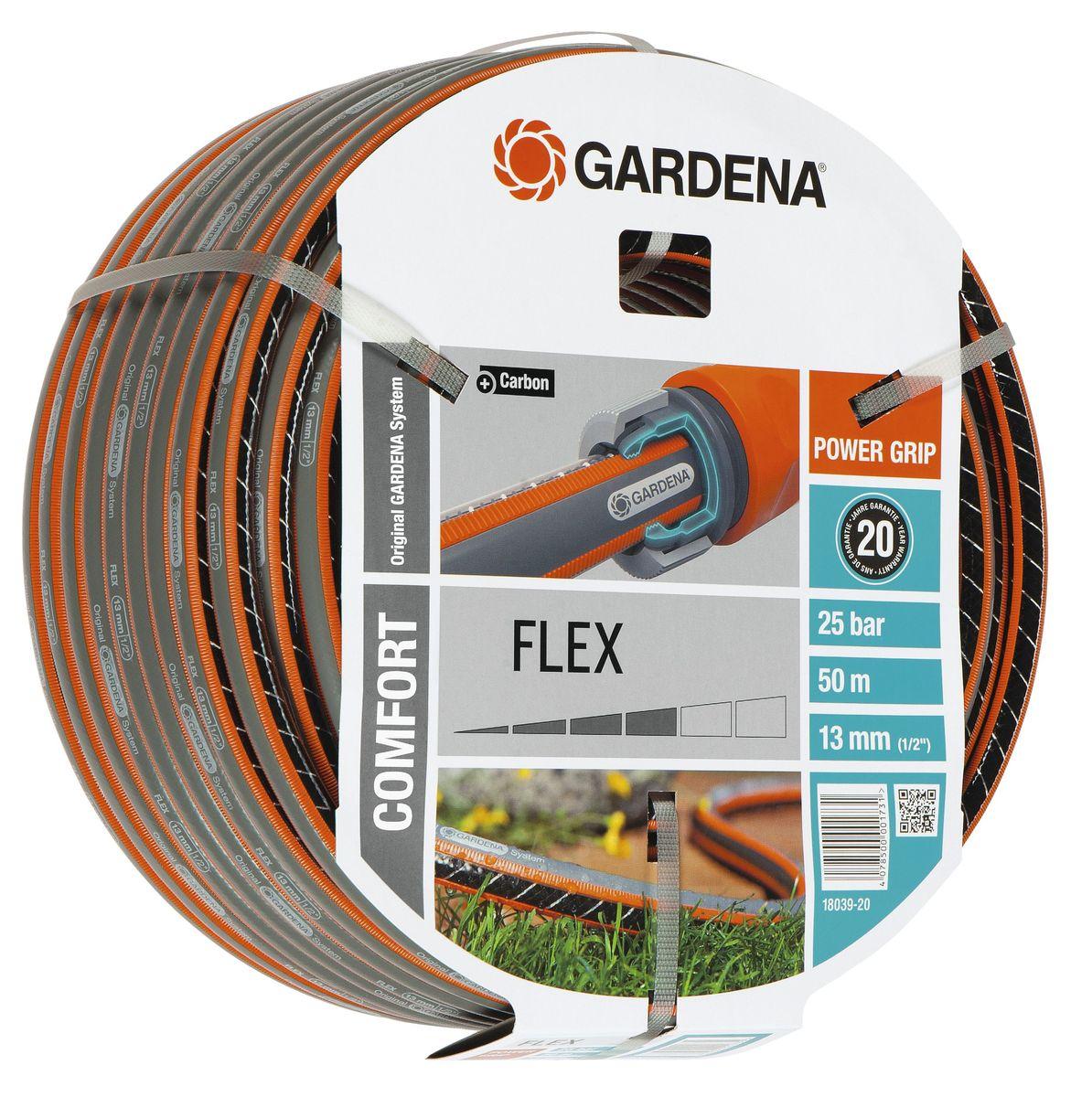 Шланг Flex 9x9 1/2 х 50 м Gardena18039-20.000.00С ребристым профилем Power Grip для идеального соединения с коннекторами Базовой системы полива. Устойчивость к высокому давлению и сохранение формы благодаря спиралевидному текстильному армированию, усиленному углеродом. Не перегибается, не спутывается.