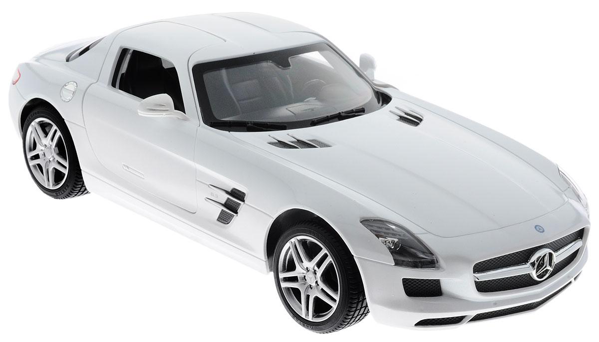 Rastar Радиоуправляемая модель Mercedes-Benz SLS AMG цвет белый47600_белыйРадиоуправляемая модель Rastar Mercedes-Benz SLS AMG предназначена для тех, кто любит роскошь и высокие скорости. Благодаря броской внешности, а также великолепной точности, с которой создатели этой модели масштабом 1:14 передали внешний вид настоящего автомобиля, модель станет подлинным украшением любой коллекции авто. Управление авто происходит с помощью пульта. Машина двигается вперед и назад, поворачивает направо, налево и останавливается. Пульт управления работает на частоте 40 MHz. Дверцы машины открываются, шины обеспечивают отличное сцепление с любой поверхностью пола. Имеются световые эффекты. Радиоуправляемые игрушки способствуют развитию координации движений, моторики и ловкости. Ваш ребенок часами будет играть с моделью, придумывая различные истории и устраивая соревнования. Порадуйте его таким замечательным подарком! Модель автомобиля Rastar Mercedes-Benz SLS AMG обязательно понравится вашему ребенку и станет достойным экспонатом...