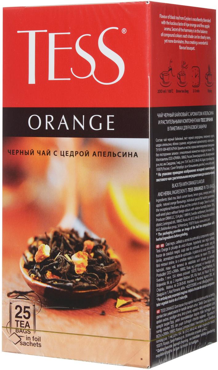 Tess Orange черный чай в пакетиках, 25 шт0647-10Черный чай в пакетиках Tess Orange - это освежающий черный чай с листом черной смородины, цедрой апельсина, сушеным яблоком. В яркой композиции Tess Orange насыщенный вкус черного чая гармонично сочетается с оттенками апельсина и яблока. Тонкие ноты черной смородины вносят завершающий штрих в богатую вкусовую гамму.