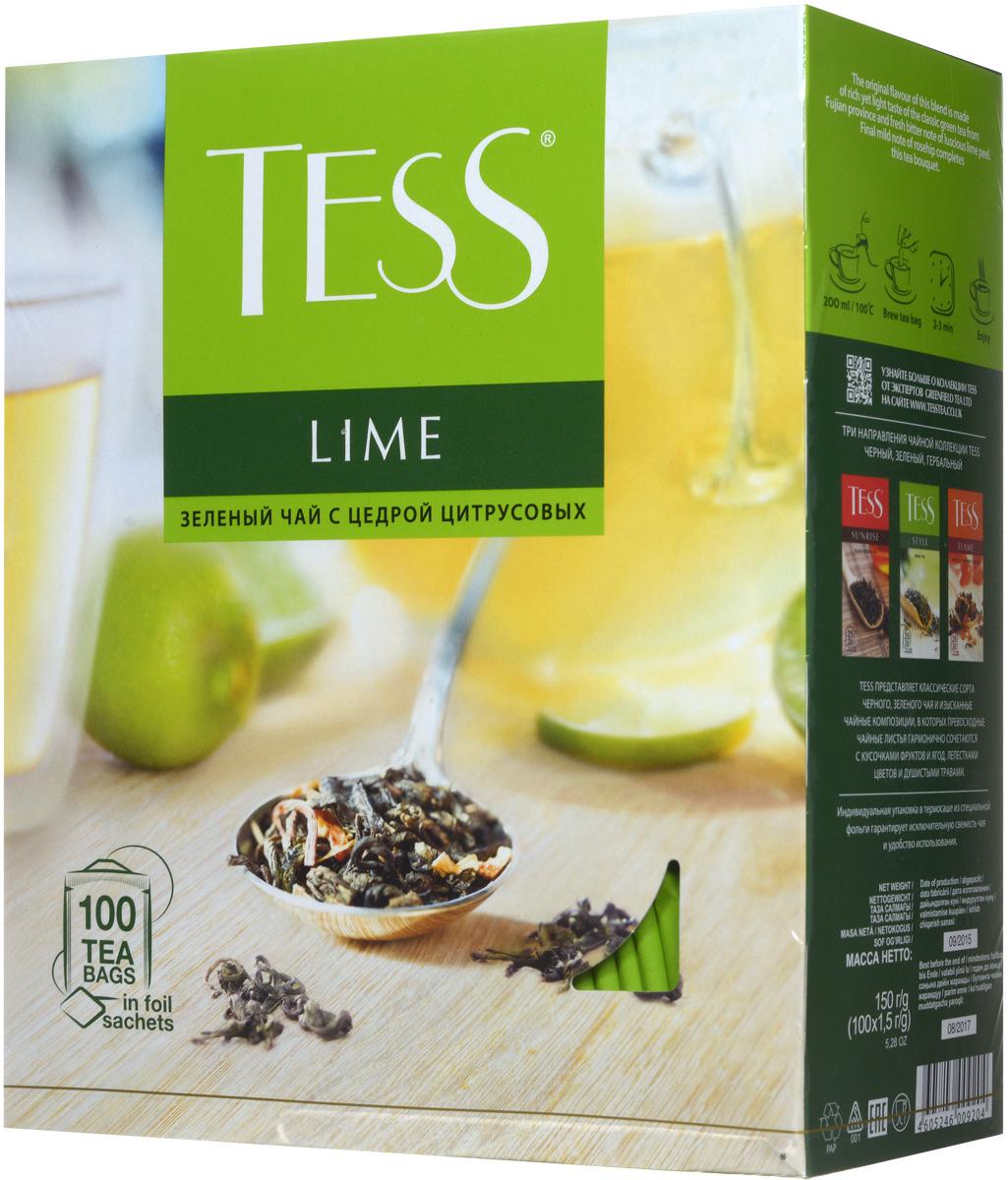 Tess Lime зеленый чай в пакетиках, 100 шт0920-09Зеленый чай Tess Lime - это очень интересная композиция из зеленого чая, кусочков шиповника, лимонной цедры и лепестков календулы. Острая лимонная кислинка хорошо сочетается с характерным, немного терпким вкусом зеленого чая, а завершающую точку ставит свежий, чуть горьковатый аромат сочного лайма.