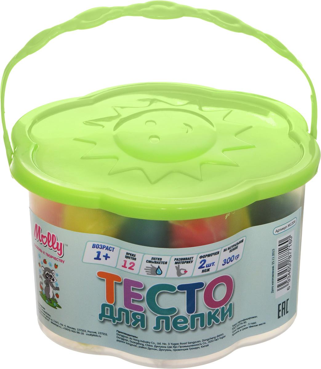 Molly Масса для лепки 12 цветов 2 формочки цвет салатовыйM1204Разноцветное тесто для лепки Molly прекрасно подходит для обучения детей азам лепки. Тесто пластично, приятно на ощупь и долговечно. Преимущественным отличием теста для лепки Молли является то, что оно не пачкает руки и одежду, легко снимается с поверхности, не окрашивает, может использоваться многократно при условии правильного хранения, безопасно для самых маленьких. Тесто разных цветов хорошо смешивается между собой, благодаря чему можно создавать бесконечное множество оттенков. Натуральные компоненты в составе теста делают его абсолютно безопасным. Тесто не вызывает аллергии, его легко снимать с поверхностей. В наборе две формочки, одна резная форма и 12 цветов теста в индивидуальных упаковках. Набор дополнен пластиковым ножом. Готовые изделия из теста можно украшать бусинами, крупами, семечками, разукрашивать маркерами. Творческие занятия с тестом для лепки развивают мелкую моторику рук, воображение, логику, умение концентрироваться. Маленькие дети от года...