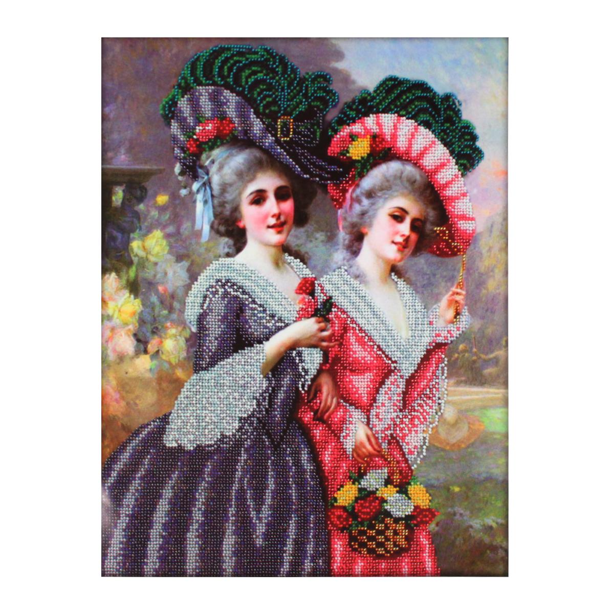 Набор для вышивания бисером Паутинка Барышни на прогулке, 28 см х 36 см. Б1480484153Состав набора: бисер Чехия - 20 цветов, льняная ткань с нанесенным рисунком, бисерная игла, подробная инструкция.