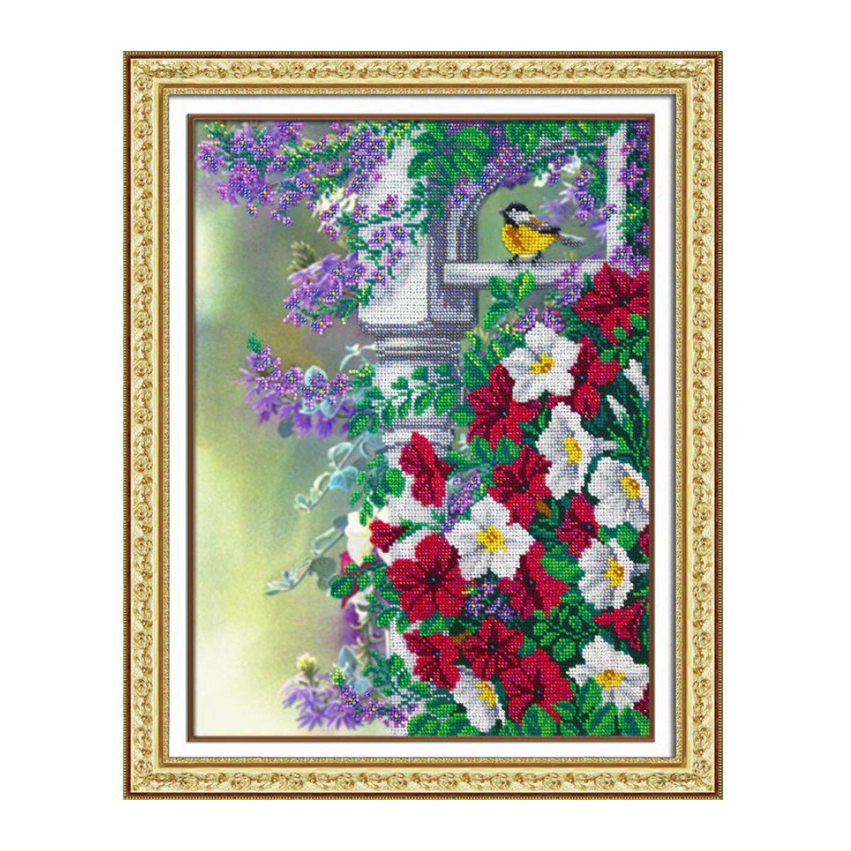 Набор для вышивания бисером Паутинка Весеннее настроение, 28 см х 38 см. Б1243484247Состав набора: бисер Чехия - 20 цветов, льняная ткань с нанесенным рисунком, бисерная игла, подробная инструкция.