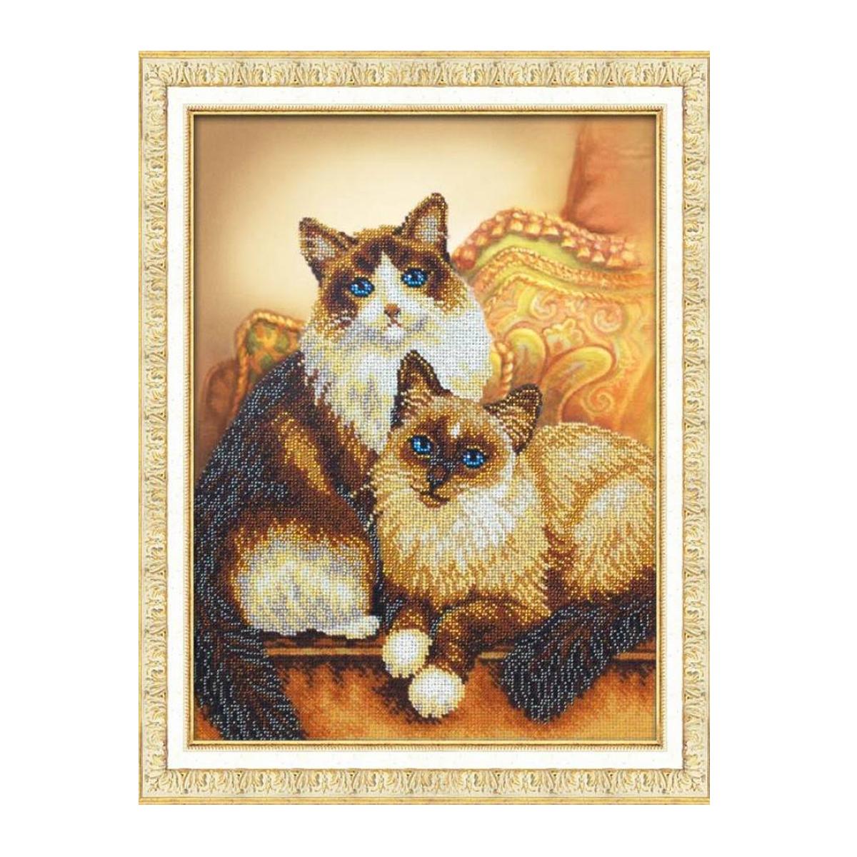 Набор для вышивания бисером Паутинка Котики, 28 см х 38 см. Б1429484249Состав набора: бисер Чехия - 18 цветов, льняная ткань с нанесенным рисунком, бисерная игла, подробная инструкция.