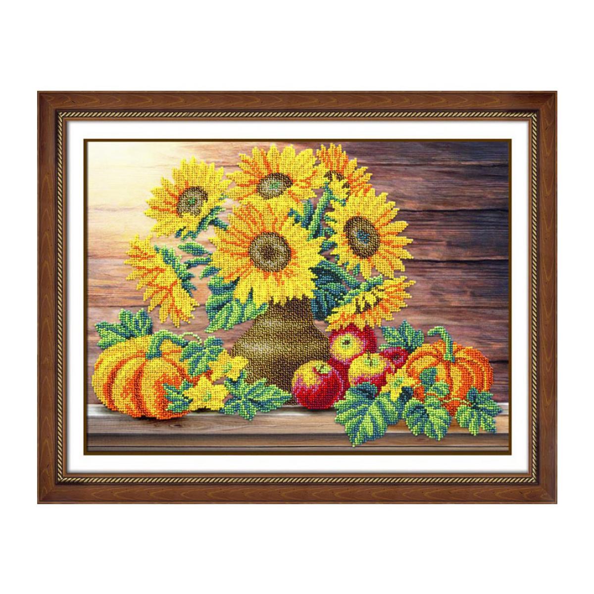 Набор для вышивания бисером Паутинка Пора урожая, 28 см х 38 см. Б1241486457Состав набора: бисер Чехия - 16 цветов, льняная ткань с нанесенным рисунком, бисерная игла, подробная инструкция.