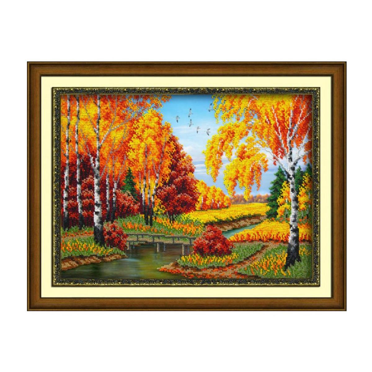 Набор для вышивания бисером Паутинка Золотая осень, 28 см х 38 см. Б1435486459Состав набора: бисер Чехия - 17 цветов, льняная ткань с нанесенным рисунком, бисерная игла, подробная инструкция.