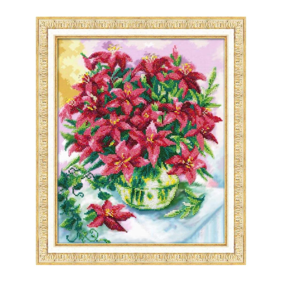 Набор для вышивания бисером Паутинка Клематисы, 21 см х 32,5 см. Б1217547148Состав набора: бисер Чехия - 14 цветов, льняная ткань с нанесенным рисунком, бисерная игла, подробная инструкция.