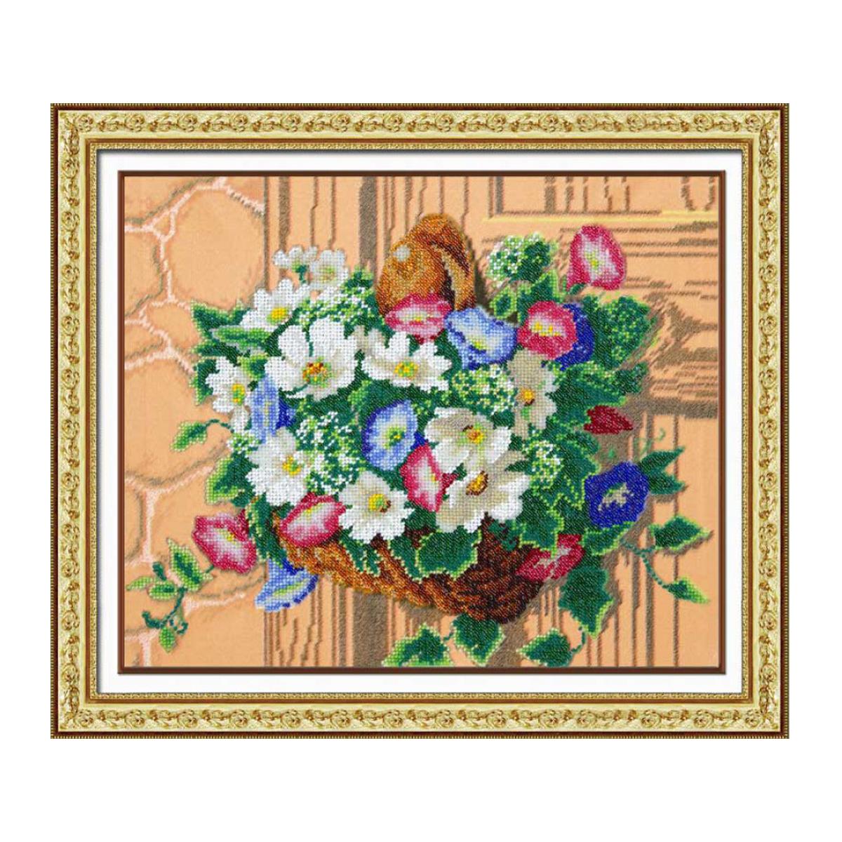 Набор для вышивания бисером Паутинка Корзинка вьюнков, 28 см х 34 см. Б1242581812Состав набора: бисер Чехия - 26 цветов, льняная ткань с нанесенным рисунком, бисерная игла, подробная инструкция.