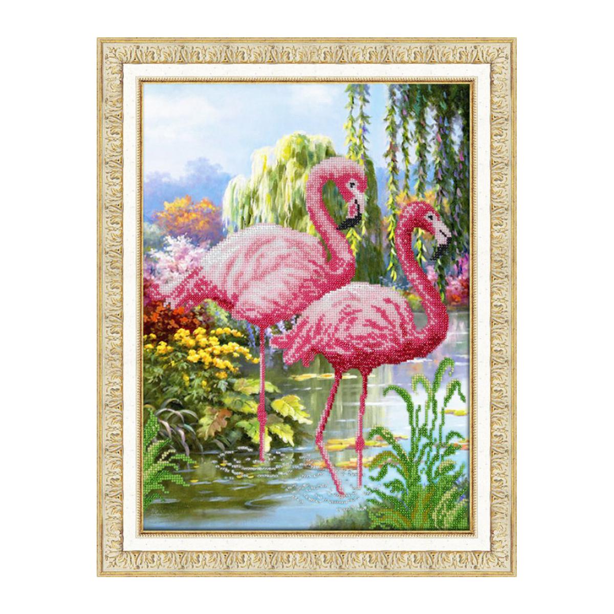 Набор для вышивания бисером Паутинка Фламинго, 38 см х 28 см. Б1451581813Состав набора: бисер Чехия - 13 цветов, льняная ткань с нанесенным рисунком, бисерная игла, подробная инструкция.