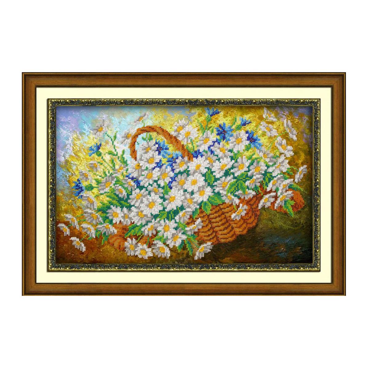 Набор для вышивания бисером Паутинка Ромашки, 24 см х 39 см. Б12397710793Состав набора: бисер Чехия - 15 цветов, льняная ткань с нанесенным рисунком, бисерная игла, подробная инструкция.