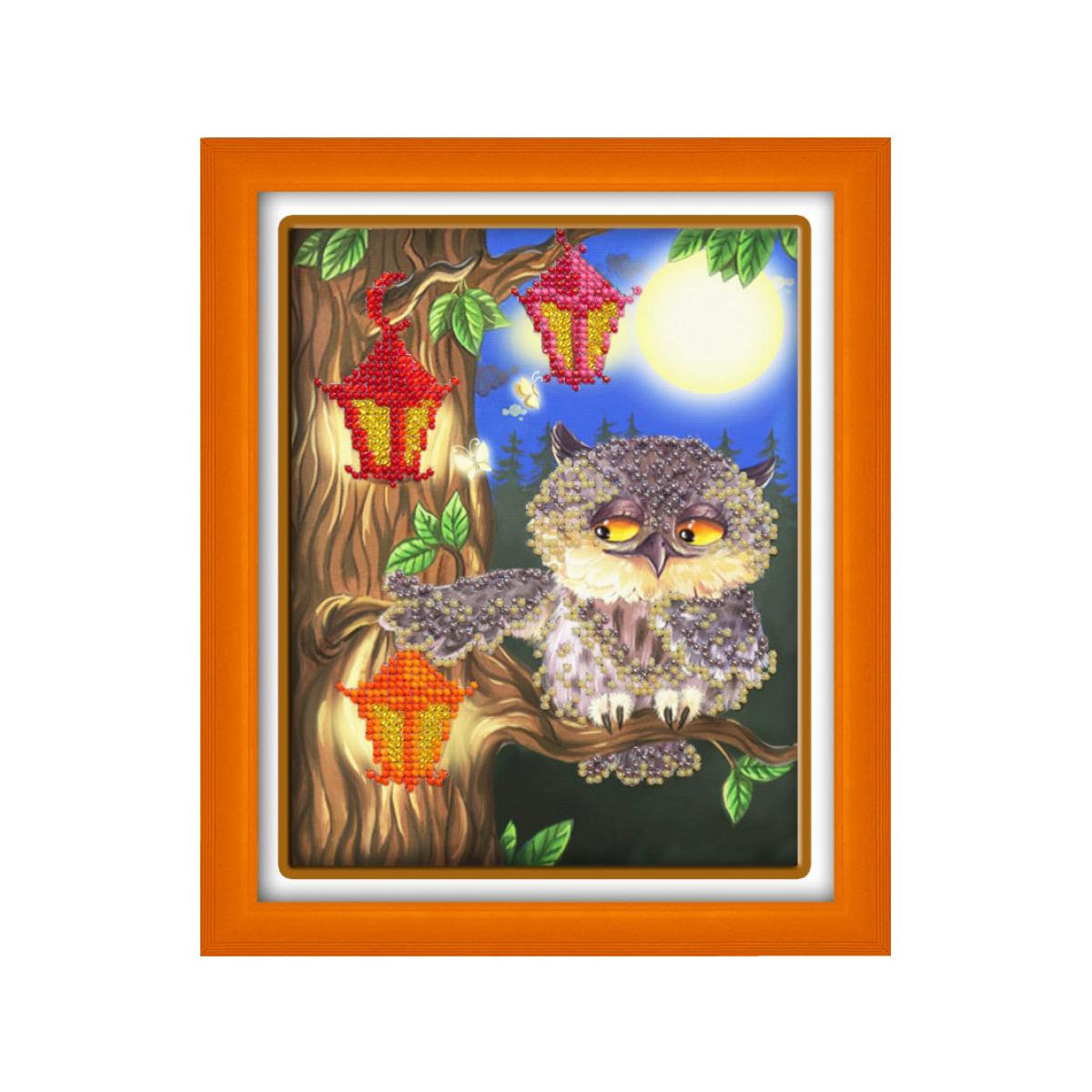 Набор для вышивания бисером Паутинка Совушка, 14 см х 18 см. Б5567710798Состав набора: бисер Чехия - 9 цветов, льняная ткань с нанесенным рисунком, бисерная игла, подробная инструкция.