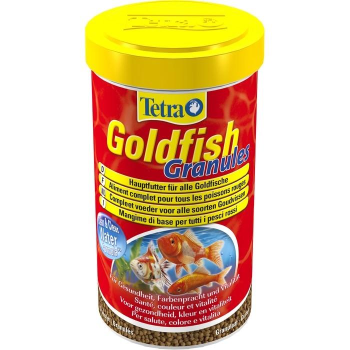 Корм для золотых рыбок Tetra Goldfish. Granules, в гранулах, 500 мл (158 г)135482Корм Tetra Goldfish. Granules - основной корм для любых холодноводных и всех видов золотых рыбок. Корм улучшает здоровье, жизненную силу и делает окрас ярче. Легко усвояемый, плавающий гранулят, богатый растительными компонентами, обеспечивает полноценное питание и полностью съедается рыбками. Запатентованная БиоАктив-формула поддерживает здоровую иммунную систему. Специальная формула Clean & Clear Water снижает загрязнение, обеспечивая чистоту и прозрачность воды. Рекомендуется кормить в достаточном количестве, которое может быть съедено рыбами за 5-7 минут. Товар сертифицирован.