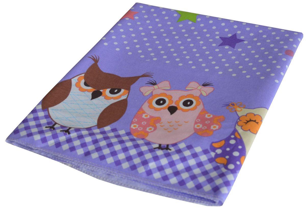 Bonne Fee Простыня детская Совы цвет фиолетовый 60 х 120 см