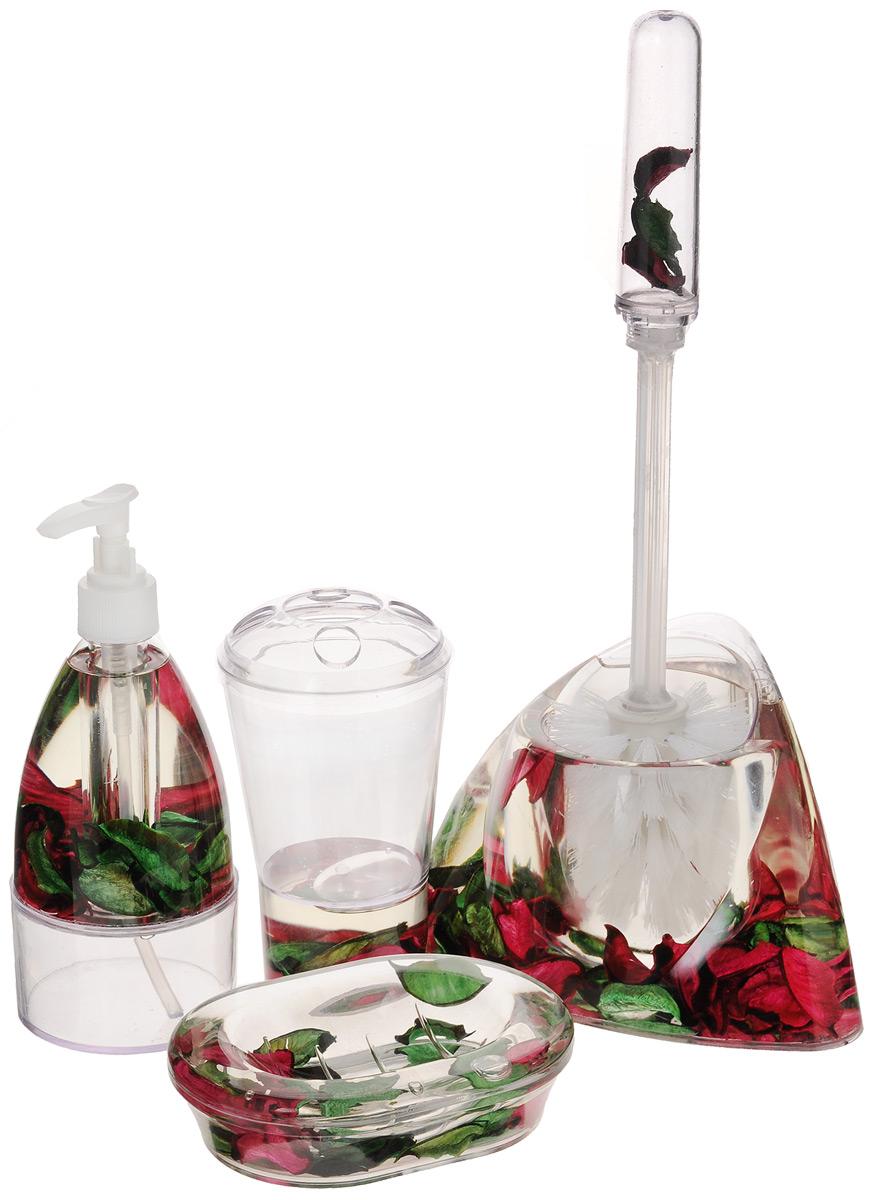 Набор для ванной комнаты Mayer & Boch Лепестки, 5 предметов8647_лепесткиНабор для ванной комнаты Mayer & Boch Лепестки состоит из диспенсера для жидкого мыла, стакана для 4 зубных щеток и зубной пасты, мыльницы, ершика на подставке. Предметы набора выполнены из прозрачного пластика. Внутри - гелевый наполнитель с зелеными и бордовыми лепестками. Аксессуары, входящие в набор Mayer & Boch Лепестки, выполняют не только практическую, но и декоративную функцию. Они способны внести в помещение изысканность, сделать пребывание в ванне приятным и даже незабываемым. Размер стакана для щеток и пасты: 8 х 8 х 13,5 см. Размер диспенсера: 7,5 х 7,5 х 18,5 см. Объем диспенсера: 150 мл. Размер мыльницы: 13,5 х 9,5 х 3 см. Длина ершика: 32,5 см. Размер рабочей поверхности ершика: 7 х 7 х 8 см. Размер подставки для ершика: 17 х 12 х 11 см.
