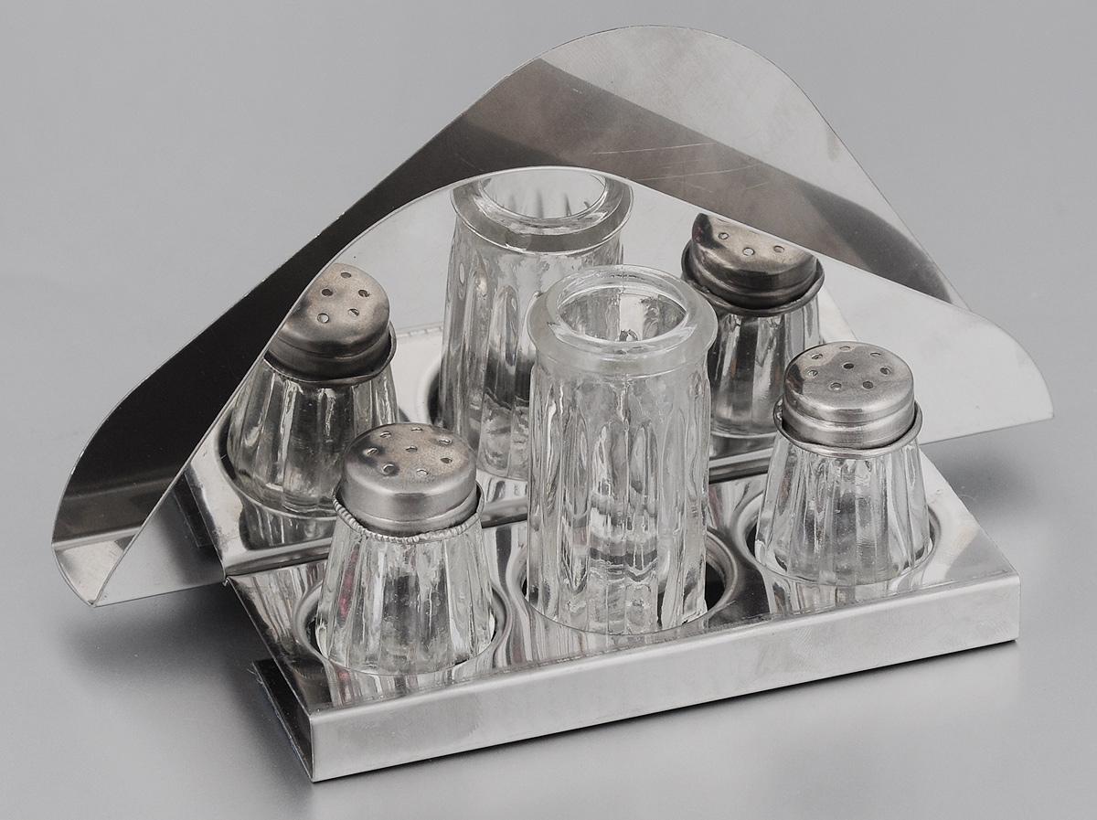 Набор для специй Mayer & Boch, на подставке, 4 предмета. 25302530Набор для специй Mayer & Boch выполнен из нержавеющей стали и стекла. Он состоит из солонки, перечницы, баночки для зубочисток и подставки, которая является салфетницой. Солонка и перечница легки в использовании: стоит только перевернуть емкости, и Вы с легкостью сможете поперчить или добавить соль по вкусу в любое блюдо. Набор для специй Mayer & Boch не только украсит стол, но и станет полезным аксессуаром как на кухне, так и за праздничным столом. Размер подставки-салфетницы: 17 х 8,5 х 8 см. Размер солонки/перечницы: 3 х 3 х 4,5. Размер баночки для зубочисток: 3 х 3 х 6,3 см.