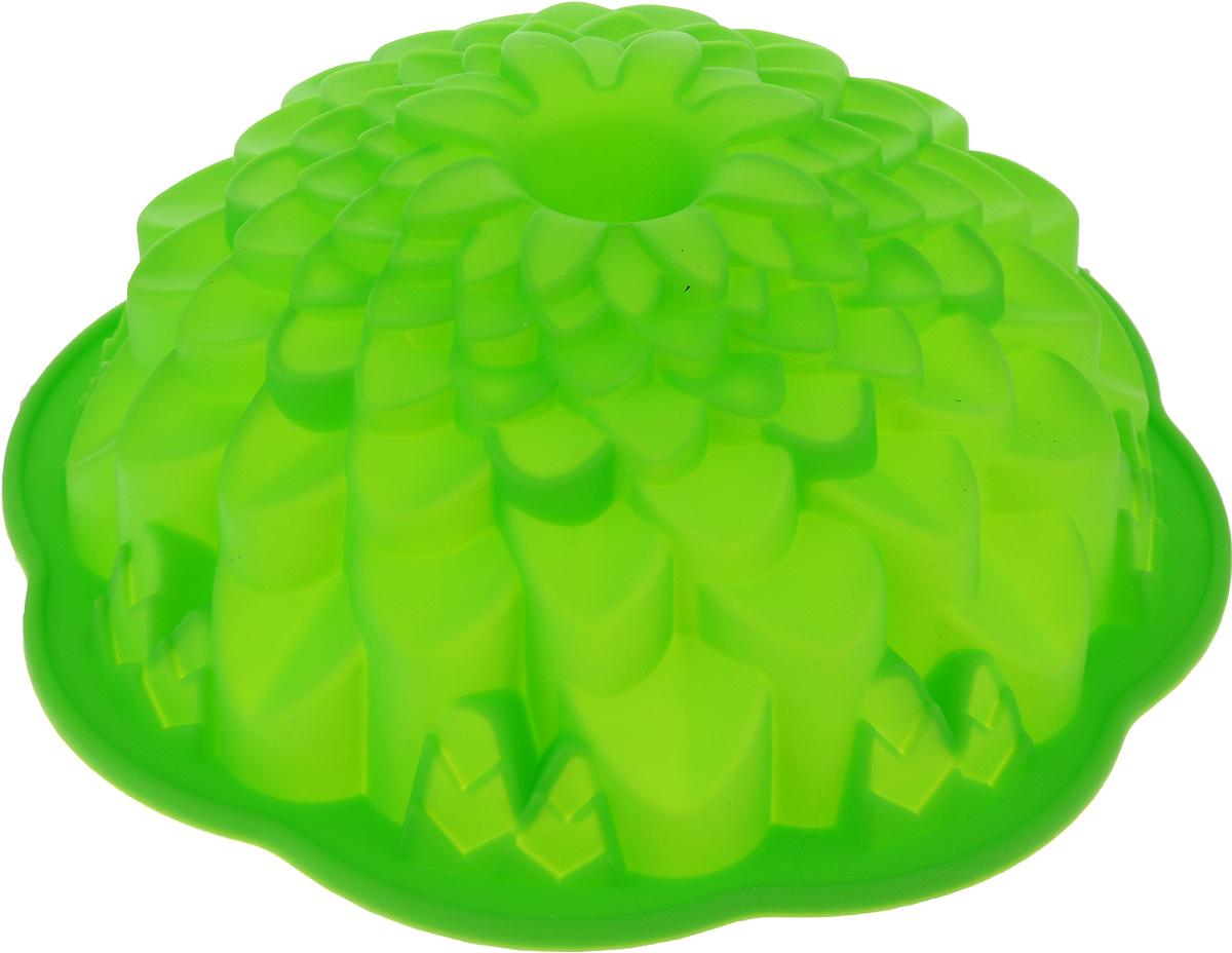 Форма для выпечки Marmiton Хризантема, цвет: зеленый, диаметр 21,5 см16045_зеленыйФигурная форма для выпечки Marmiton Хризантема будет отличным выбором для всех любителей бисквитов и кексов. Благодаря тому, что форма изготовлена из силикона, готовую выпечку или мармелад вынимать легко и просто. С такой формой вы всегда сможете порадовать своих близких оригинальной выпечкой. Материал устойчив к фруктовым кислотам, может быть использован в духовках, микроволновых печах и морозильных камерах (выдерживает температуру от +240°C до -40°C). Можно мыть и сушить в посудомоечной машине. Диаметр формы: 21,5 см. Высота формы: 7 см.