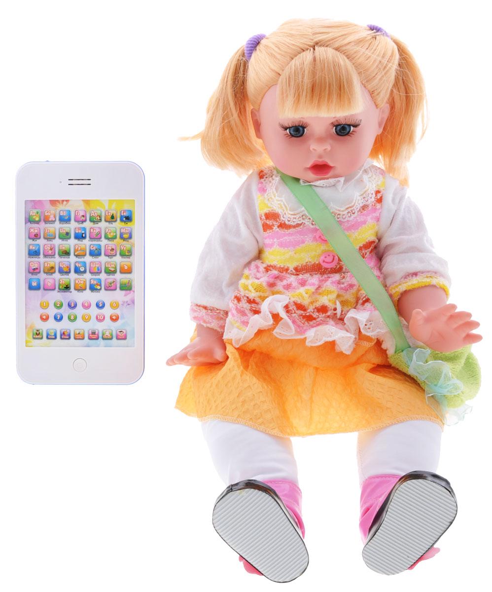 Tongde Интерактивная обучающая кукла Умняша с планшетом цвет одежды белый оранжевыйT72-D380_белый, оранжевыйИнтерактивная обучающая кукла Умняша станет отличным помощником в обучении вашей малышки. Кукла одета в текстильное платье с жилеткой, на плече у нее - сумочка. У Умняши выразительные синие глаза и длинные реснички. Ее светлые волосы малышка сможет расчесывать и заплетать из них различные прически. Кукла имеет 9 функций: двигается, поет песенку, учит алфавиту, учит математике, рассказывает стишки, задает вопросы, работает от планшета, поднимает ручки, можно играть как с обычной куклой! Нажимайте на кнопку на груди у куклы и слушайте различные мелодии! Подключите планшет и играйте от него! Режимы планшета: алфавит, слова, стихи, найди букву, математика. Для работы куклы необходимо купить 4 батарейки напряжением типа АА (в комплект не входят). Для работы планшета необходимо купить 3 батарейки типа АА (в комплект не входят). Ваша малышка будет в восторге от такого замечательного подарка!
