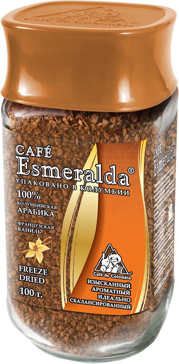 Cafe Esmeralda сублимированный кофе с ароматом французской ванили, 100 г571383Кофе Cafe Esmeralda произведен и упакован на самой современной в мире фабрике сублимированного кофе Liofilizado в Колумбии под строгим контролем Национальной Федерации производителей кофе Колумбии. Обработка по технологии Freeze Dried - быстрая заморозка в вакууме - сохраняет максимум вкуса и аромата, как у молотого кофе. Дополнительно кофейные кристаллы обрабатываются специальным кофейным маслом, что предотвращает их рассыпание. Ароматизированный кофе имеет тонкий сладкий аромат французской ванили, который подчеркивает восхитительный вкус и аромат настоящего колумбийского кофе.