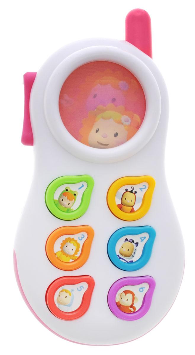 Smoby Развивающая игрушка Телефон цвет розовый211314_розовыйРазвивающая игрушка Smoby Телефон понравится любому малышу. С этой игрушкой малыш сможет почувствовать себя совсем взрослым - теперь у него будут свой собственный телефон, как у мамы с папой! Игрушка выполнена из прочного безопасного пластика в виде мобильного телефона. Телефон озвучен на трех языках - русском, английском и китайском. Телефон оснащен шестью кнопочками разных цветов, на каждой из которых изображена цифра и забавный персонаж. При однократном нажатии игрушка озвучит изображенную на кнопке цифру, при двукратном - название цвета, а при трехкратном - имя веселого героя. Такая игрушка станет не только веселой, но и полезной забавой для малыша. Она отлично позволит малышу в веселой игровой форме познакомиться с цифрами, цветами и иностранным языком. Развивающая игрушка поможет развить мелкую моторику малыша, цветовое и звуковое восприятие, а также внимание и творческое мышление. Рекомендуется докупить 2 батарейки типа АAА (товар комплектуется демонстрационными).