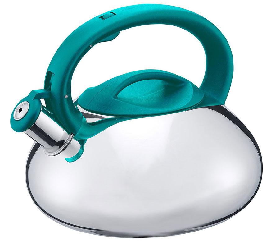 Чайник Esprado Farve Wave со свистком, цвет: серебристый, бирюзовый, 3 лFW7L30SE113Чайник Esprado Farve Wave изготовлен из высококачественной нержавеющей стали, что обеспечивает долговечность использования. Внешнее глянцевое покрытие придает приятный внешний вид. Чайник оснащен ненагревающейся нейлоновой ручкой эргономичной формы, что предотвращает появление ожогов и обеспечивает безопасность использования. Чайник снабжен свистком и устройством для открывания носика. Подходит для использования на всех видах плит, включая индукционные. Можно мыть в посудомоечной машине.